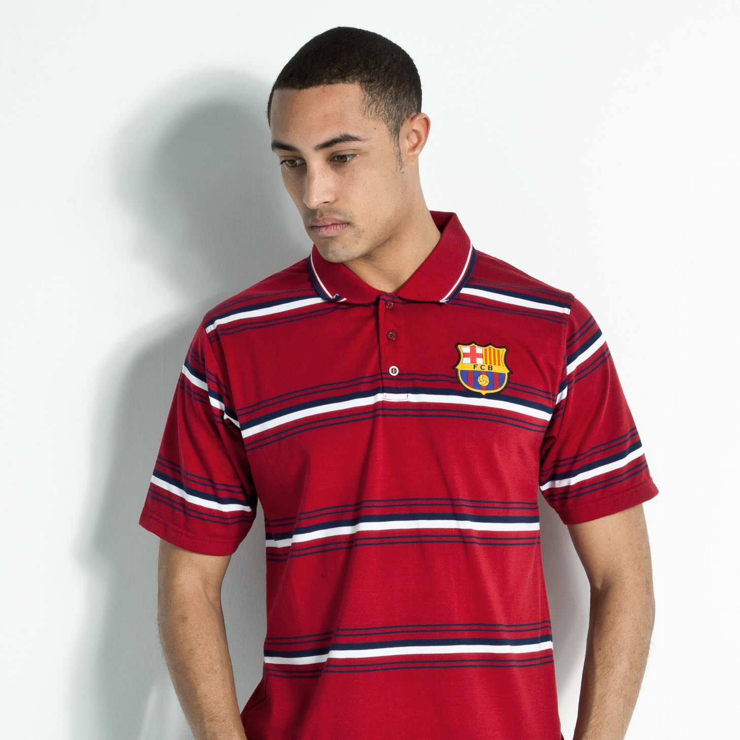 Barcelona Yarn Dyed Stripe Polo - Barca Deep Red