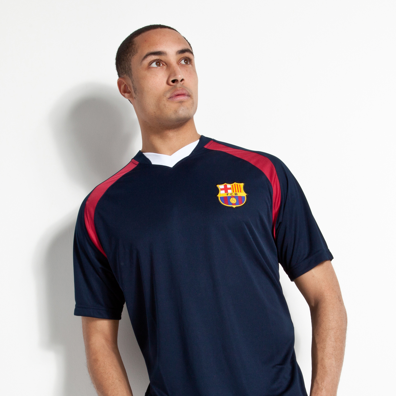 Barcelona V Neck Poly Panel T-Shirt - Navy