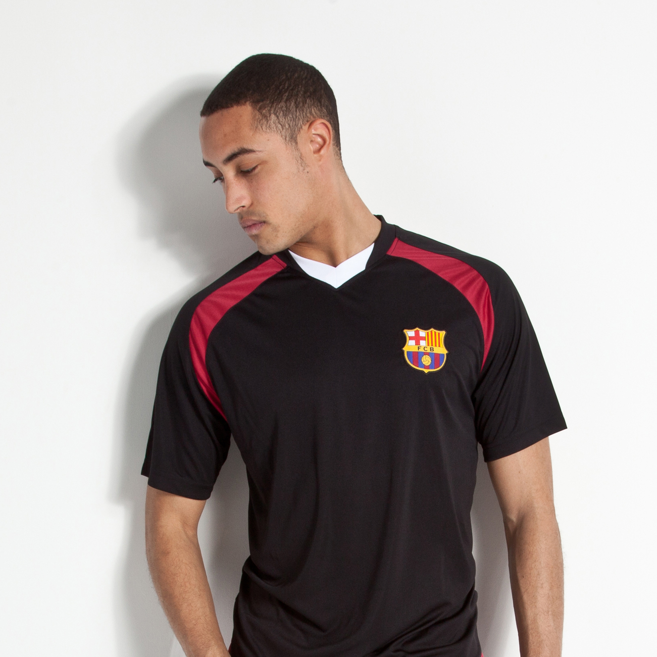 Barcelona V Neck Poly Panel T-Shirt - Black