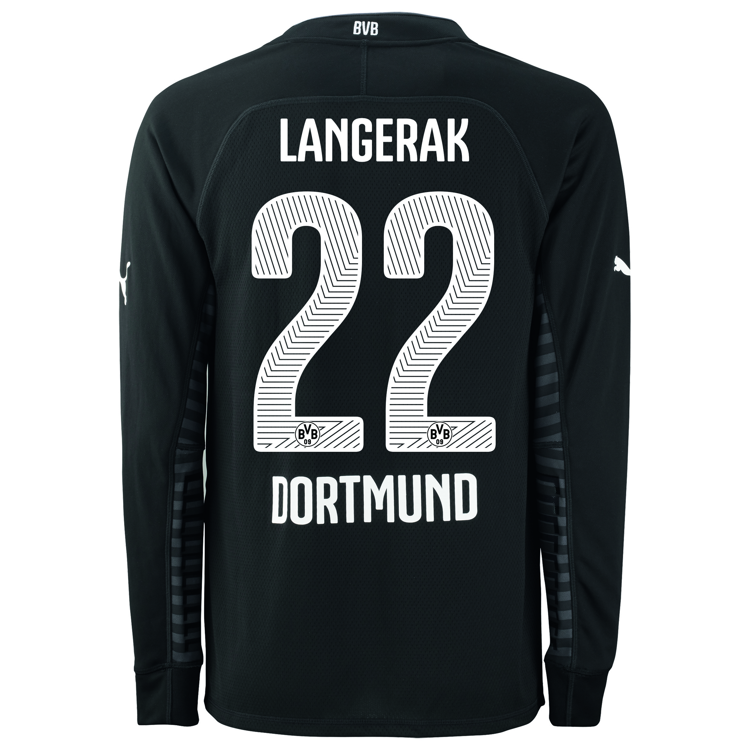 BVB Home Goalkeeper Shirt 2014/15 Black with Langerak 22 printing