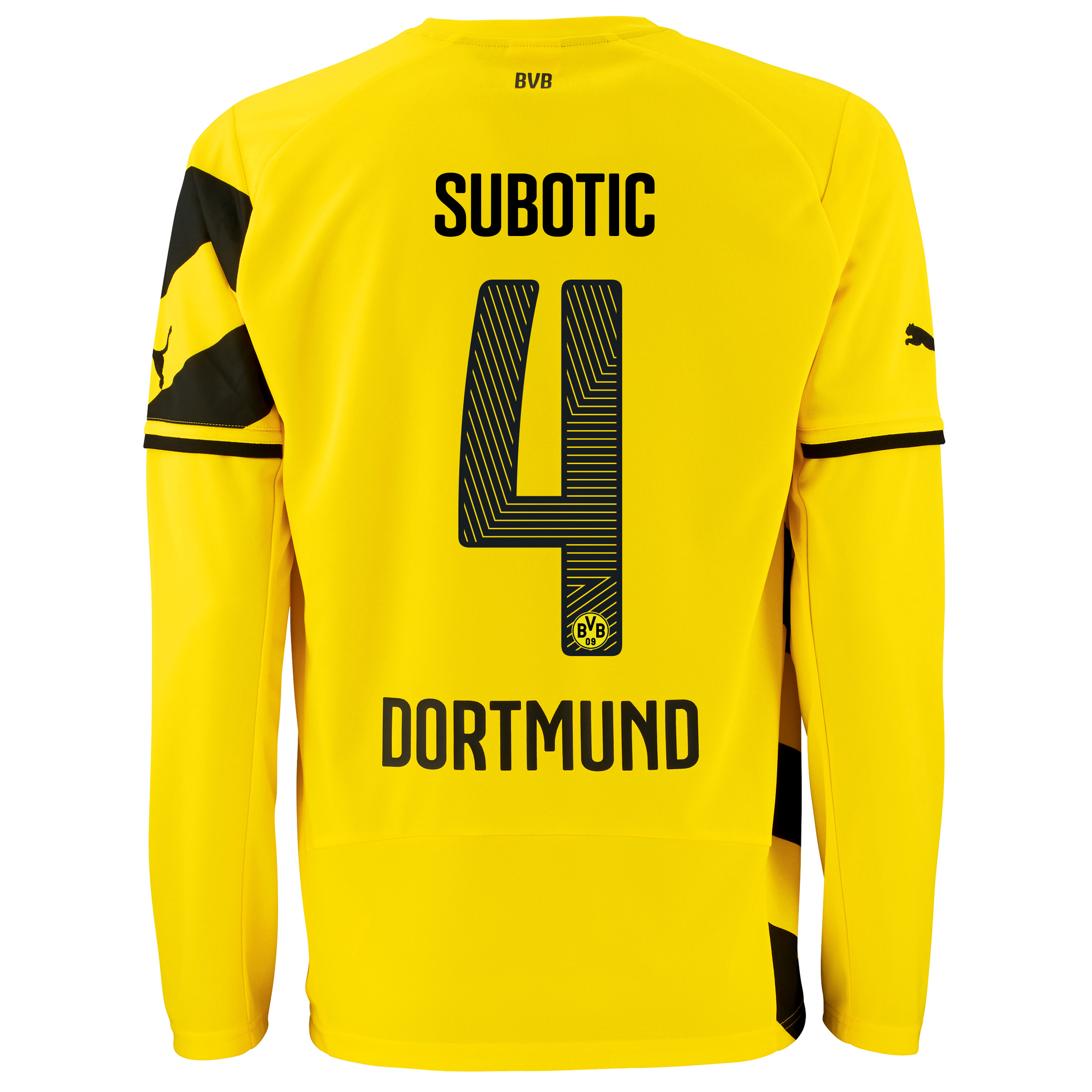 BVB Home Shirt 2014/15 - Long Sleeve - Kids Yellow with Subotic 4 printing