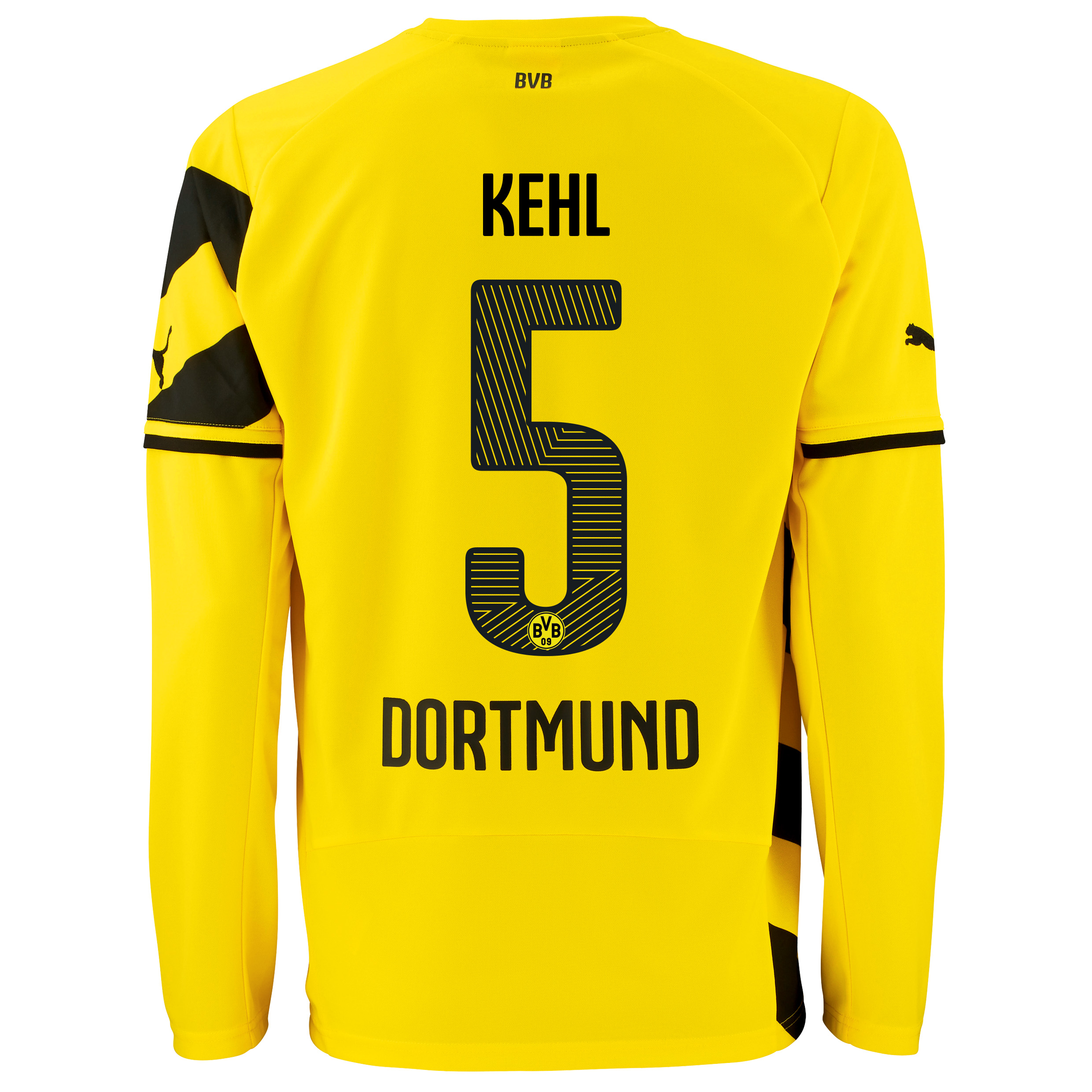 BVB Home Shirt 2014/15 - Long Sleeve - Kids Yellow with Kehl 5 printing