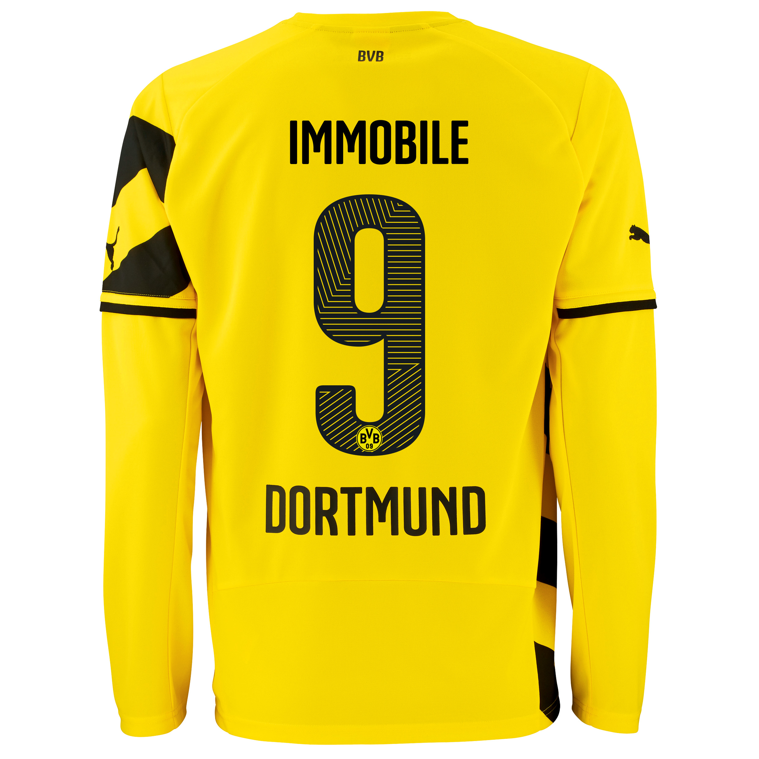 BVB Home Shirt 2014/15 - Long Sleeve - Kids Yellow with Ciro Immobile 9 printing