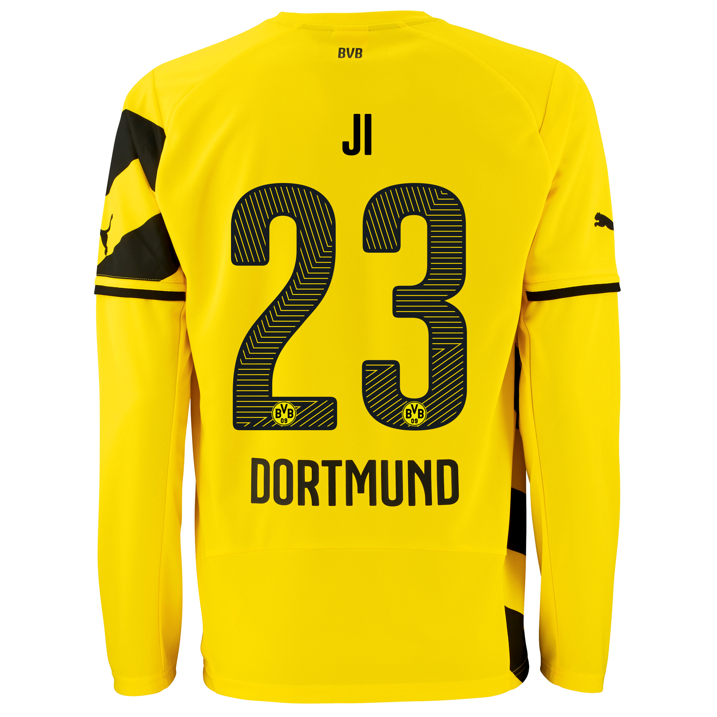 BVB Home Shirt 2014/15 - Long Sleeve - Kids Yellow with Dong-Won Ji 23 printing