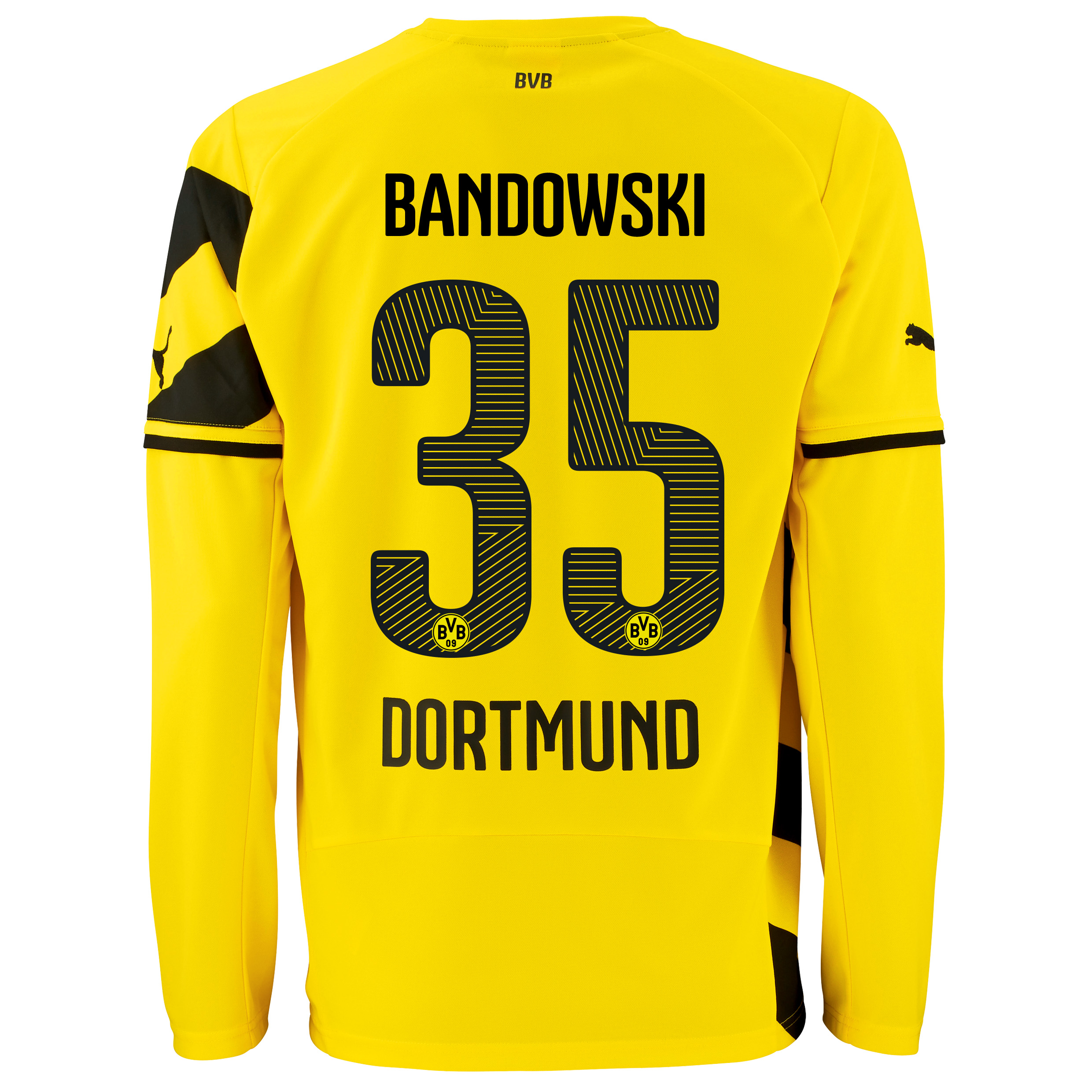 BVB Home Shirt 2014/15 - Long Sleeve - Kids Yellow with Bandowski 35 printing