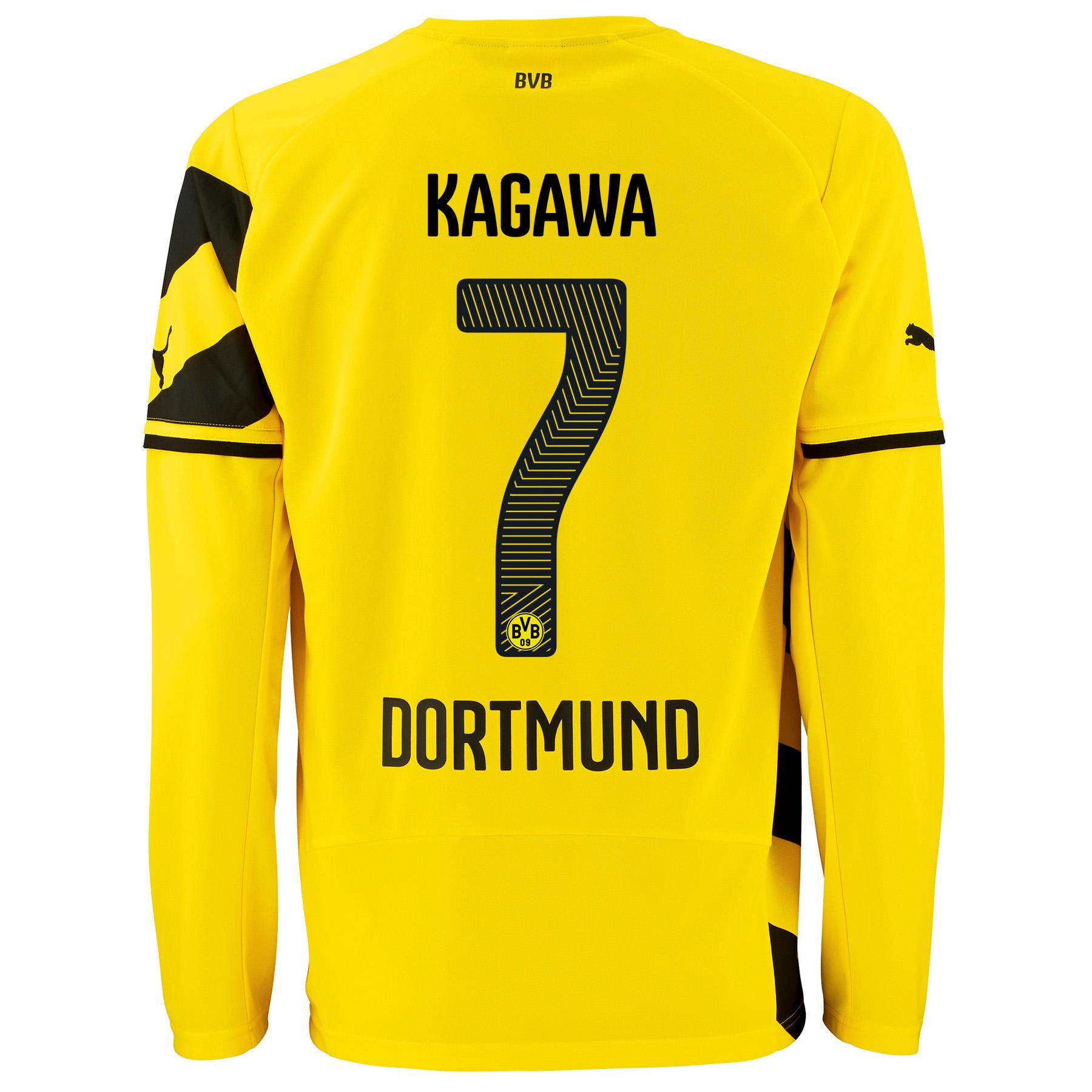 BVB Home Shirt 2014/15 - Long Sleeve - Kids Yellow with Kagawa 7 printing