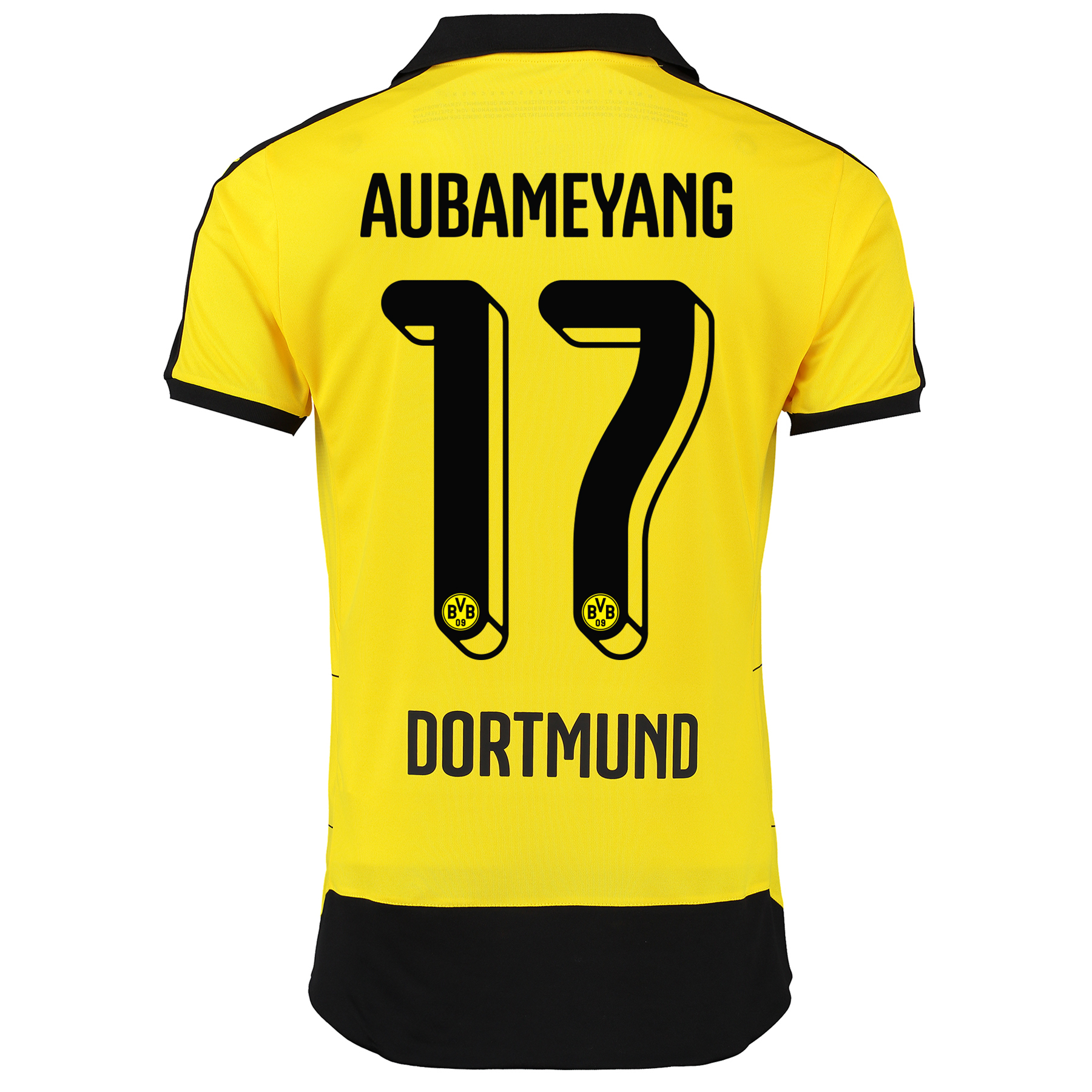 BVB Home Shirt 2015/16 – Kids Yellow with Aubameyang 17 printing