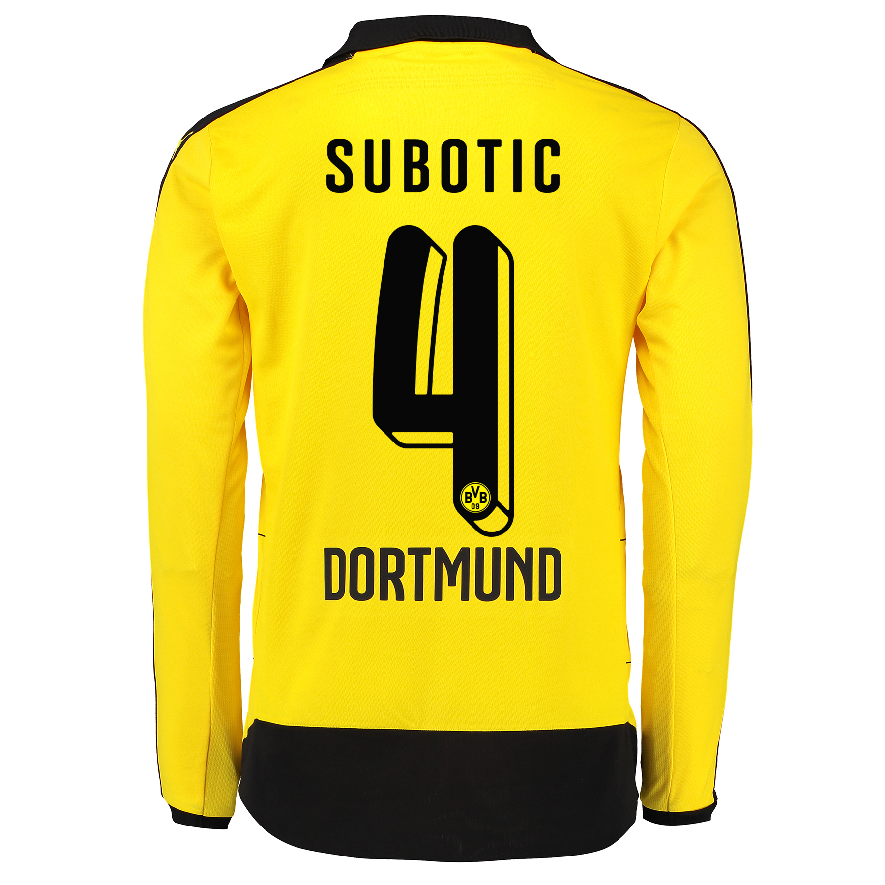 BVB Home Shirt 2015/16 – Long Sleeve – Kids Yellow with Subotic 4 prin