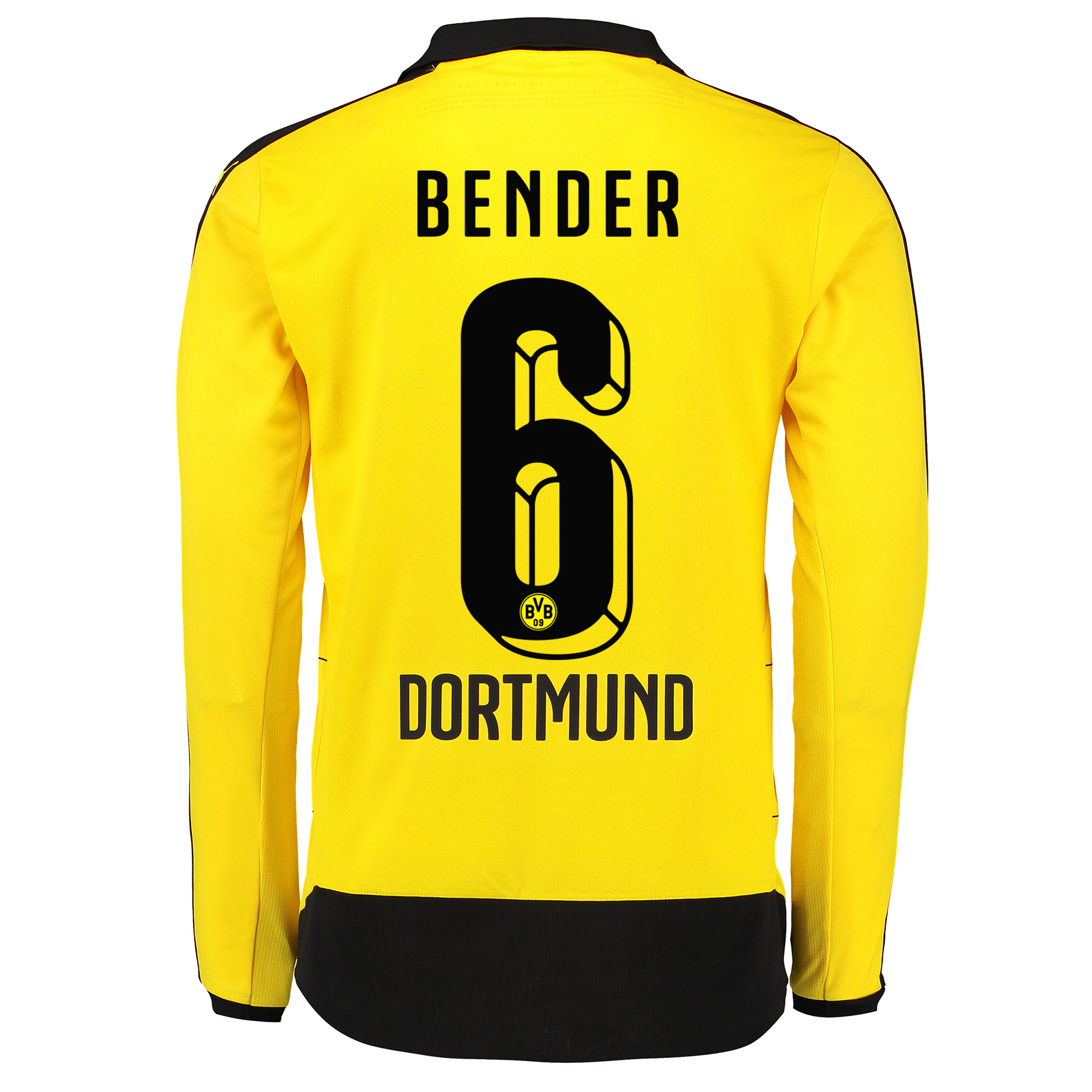 BVB Home Shirt 2015/16 - Long Sleeve - Kids Yellow with Bender 6 print