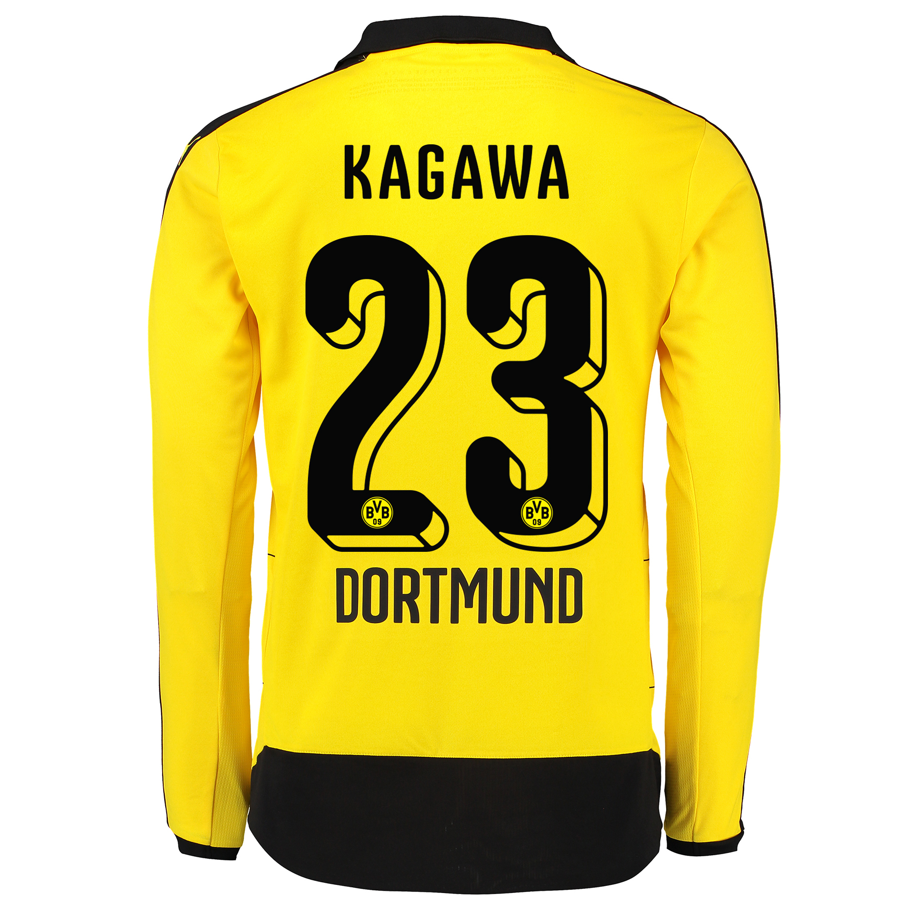 BVB Home Shirt 2015/16 – Long Sleeve – Kids Yellow with Kagawa 23 prin