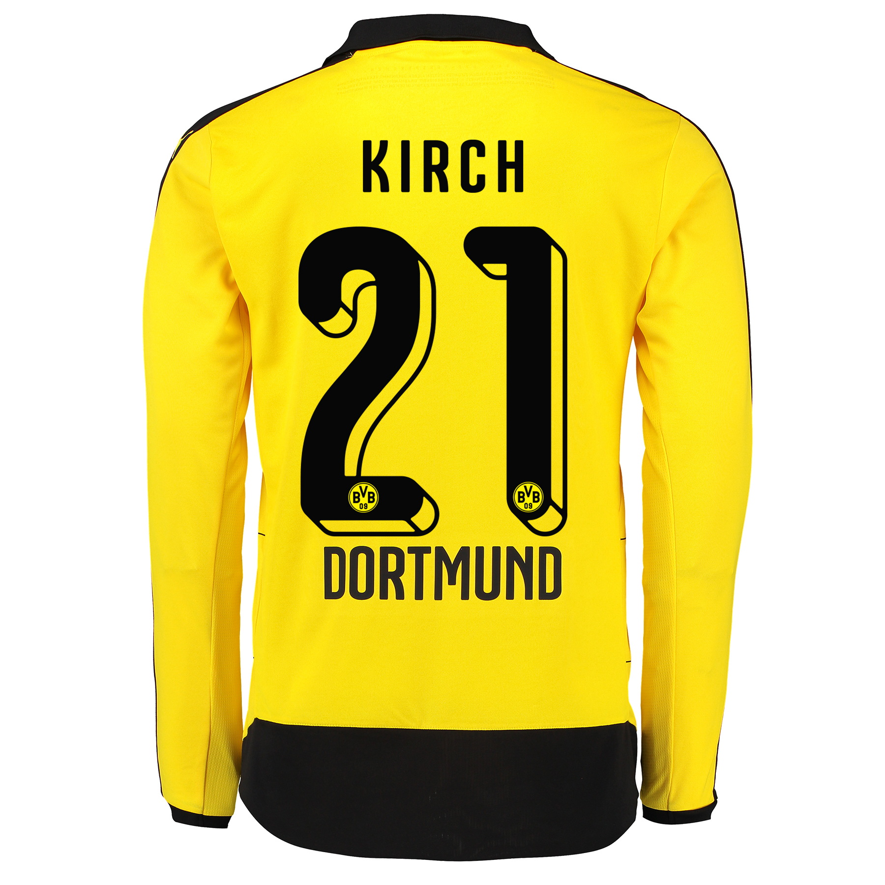 BVB Home Shirt 2015/16 – Long Sleeve – Kids Yellow with Kirch 21 print