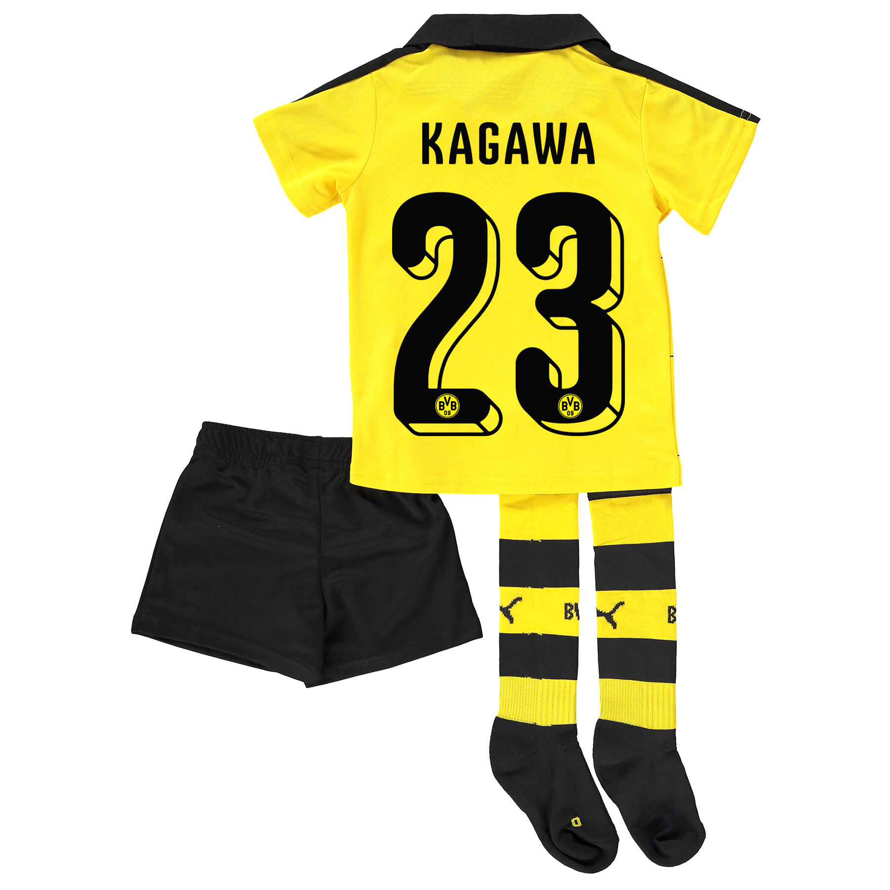 BVB Home Mini Kit 2015/16 Yellow with Kagawa 23 printing