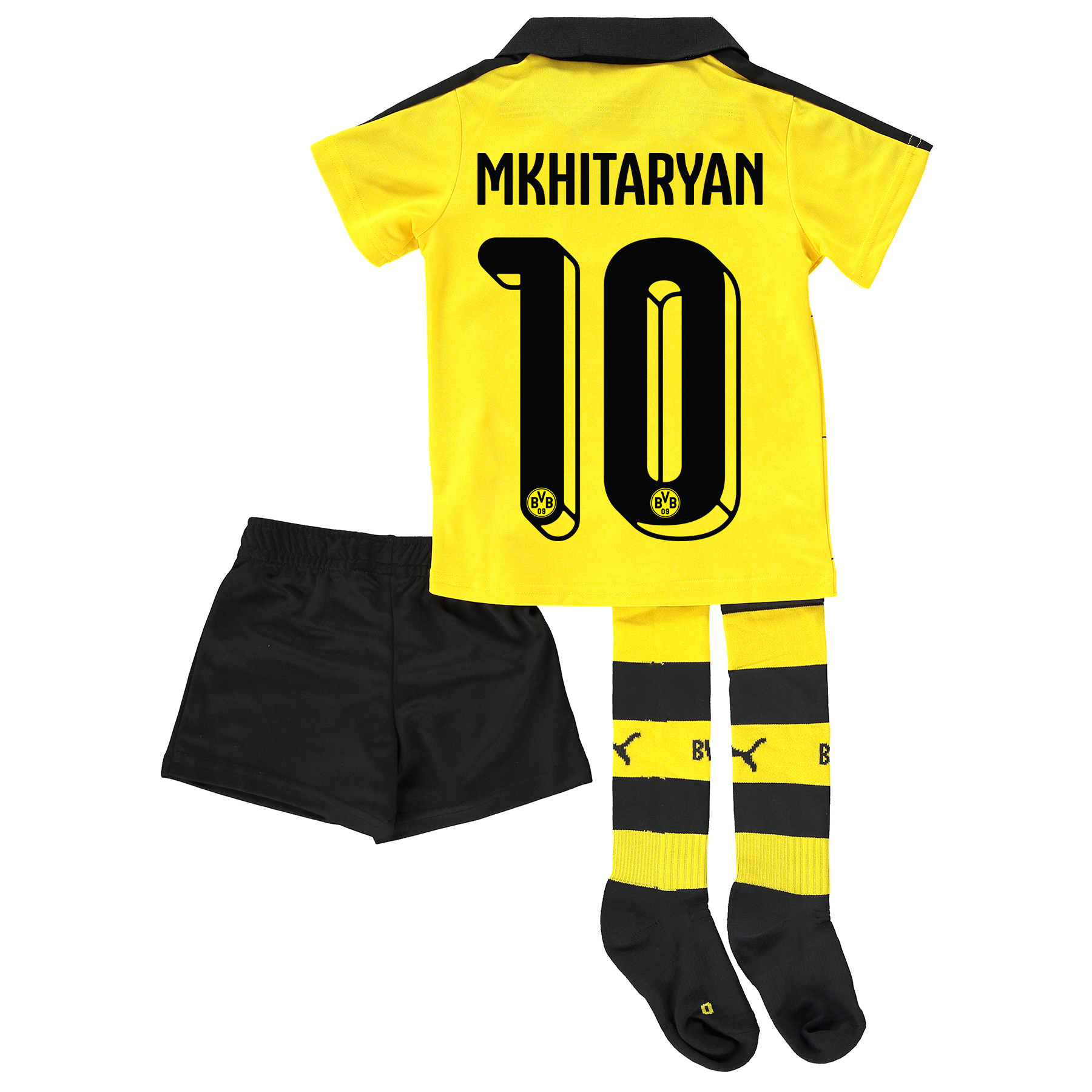 BVB Home Mini Kit 2015/16 Yellow with Mkhitaryan 10 printing