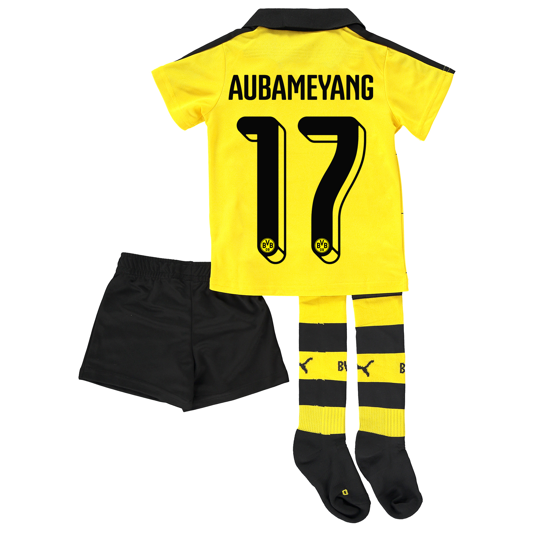 BVB Home Mini Kit 2015/16 Yellow with Aubameyang 17 printing