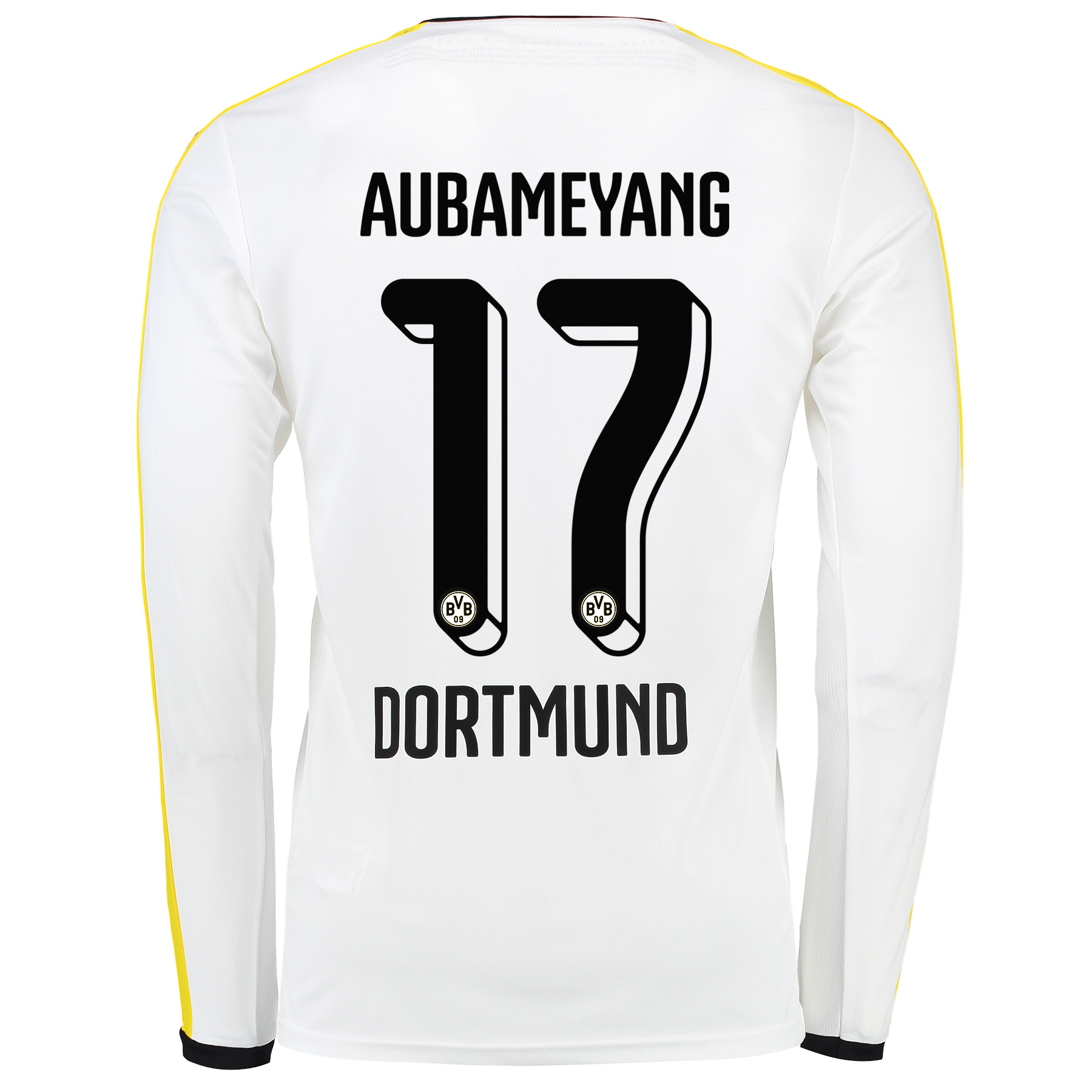 BVB Third Shirt 2015/16 – Long Sleeve White with Aubameyang 17 printin