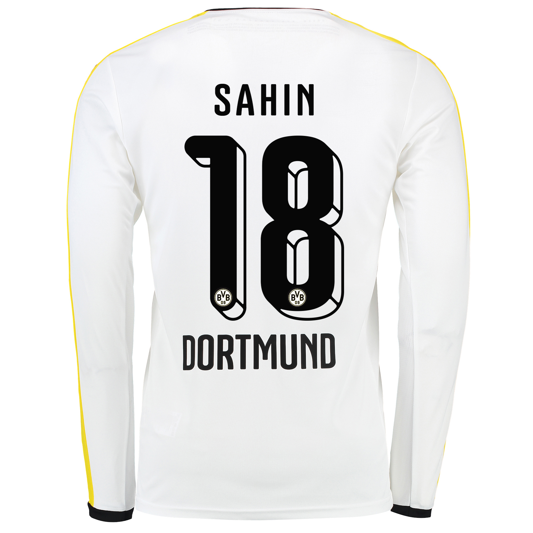 BVB Third Shirt 2015/16 - Long Sleeve White with Sahin 18 printing