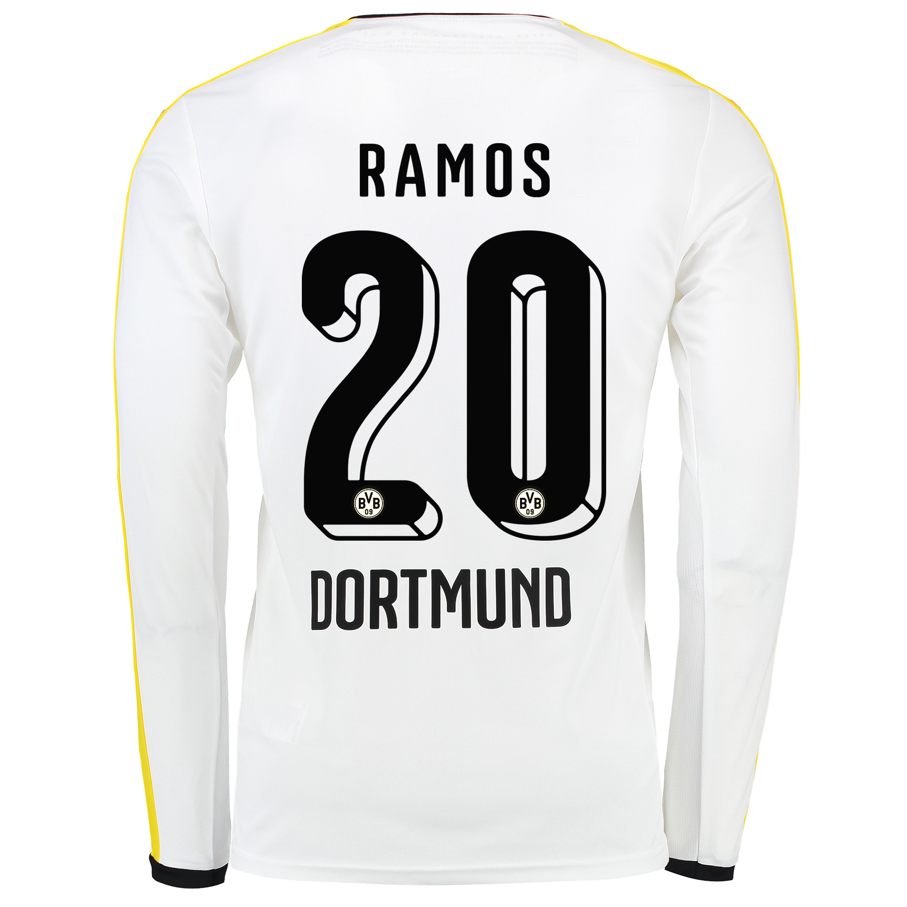 BVB Third Shirt 2015/16 - Long Sleeve White with Adrian Ramos 20 print