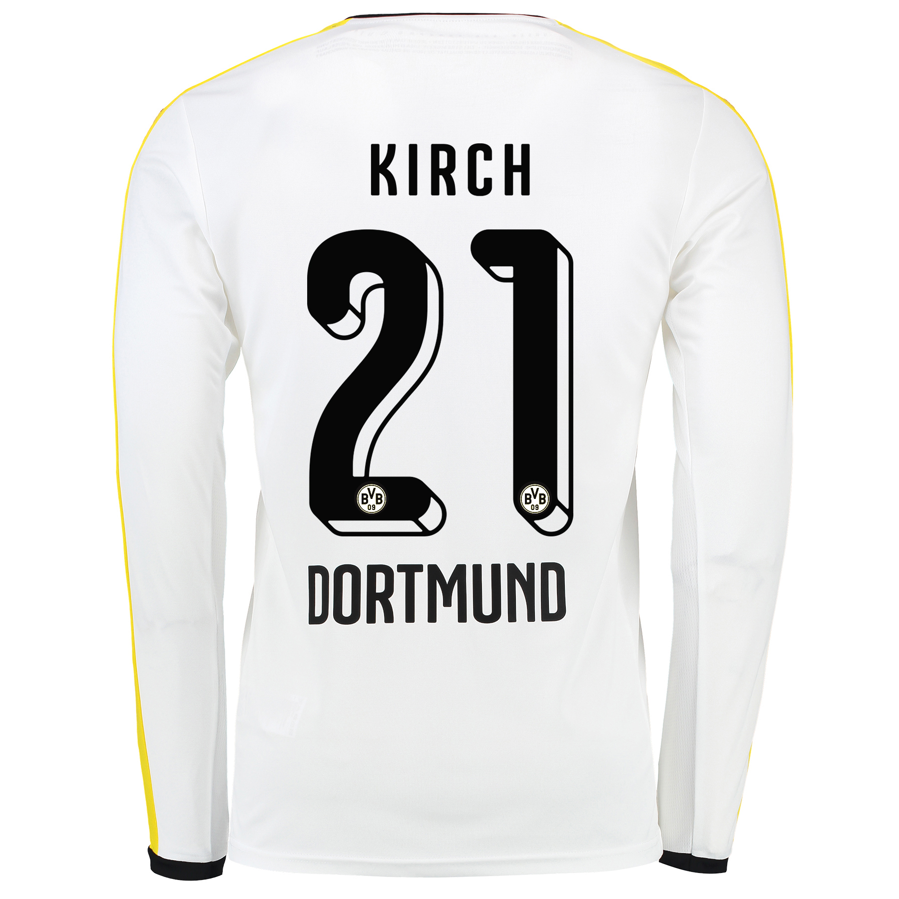 BVB Third Shirt 2015/16 – Long Sleeve White with Kirch 21 printing