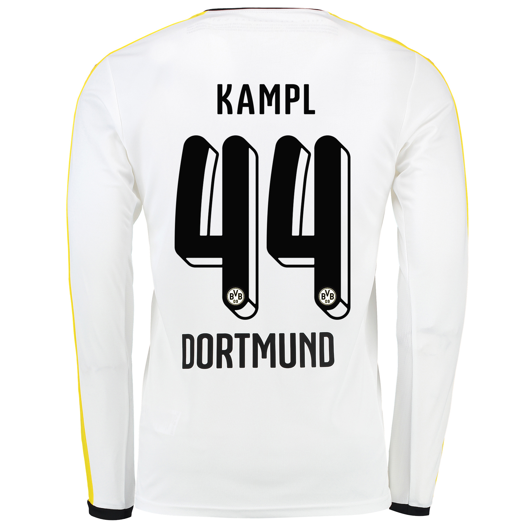 BVB Third Shirt 2015/16 - Long Sleeve White with Kampl 44 printing