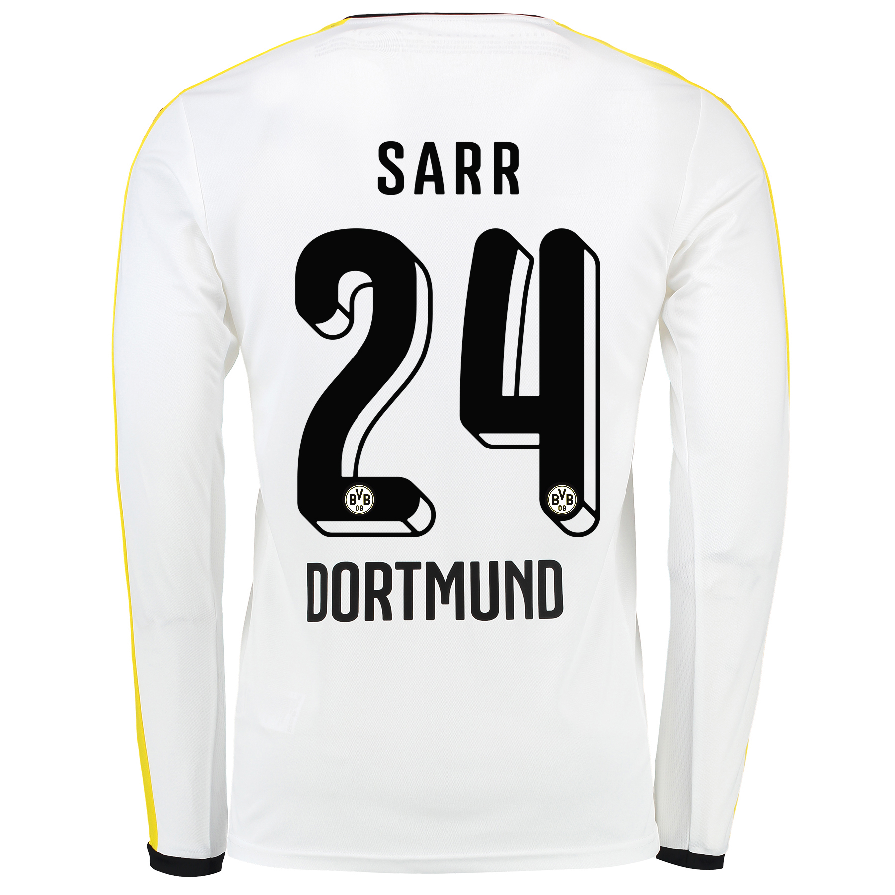 BVB Third Shirt 2015/16 - Long Sleeve White with Sarr 24 printing