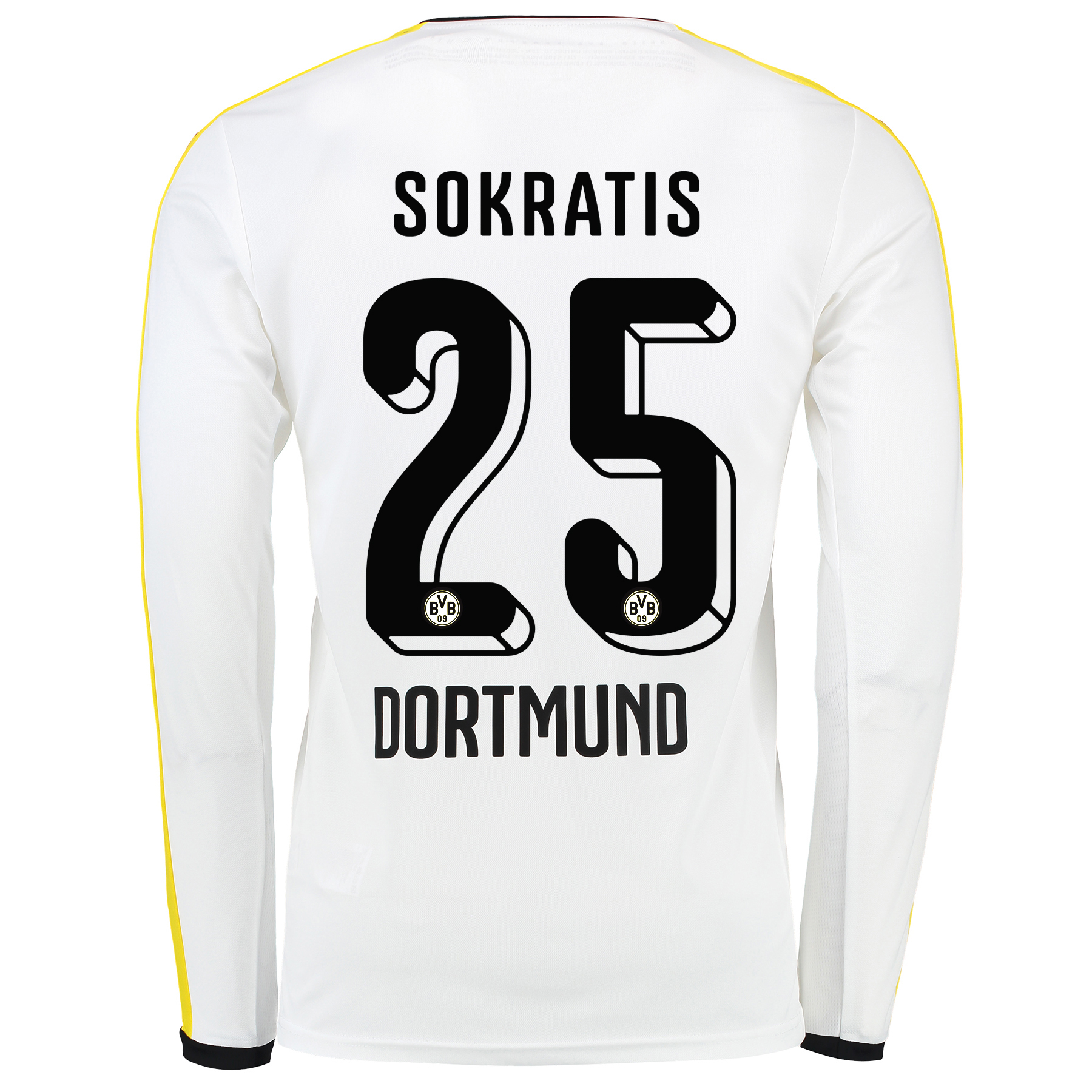 BVB Third Shirt 2015/16 – Long Sleeve White with Sokratis 25 printing
