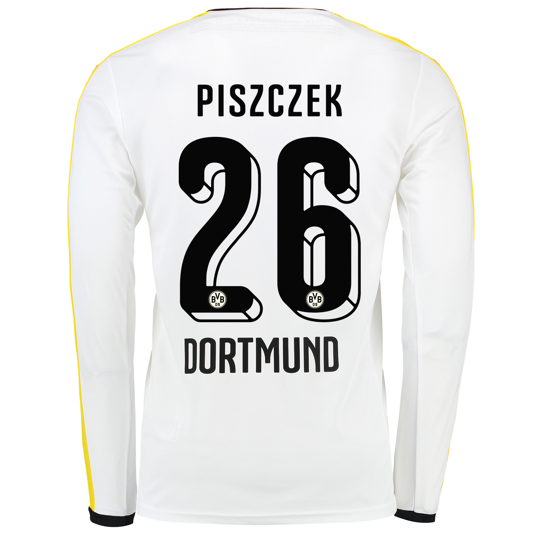 BVB Third Shirt 2015/16 – Long Sleeve White with Piszczek 26 printing
