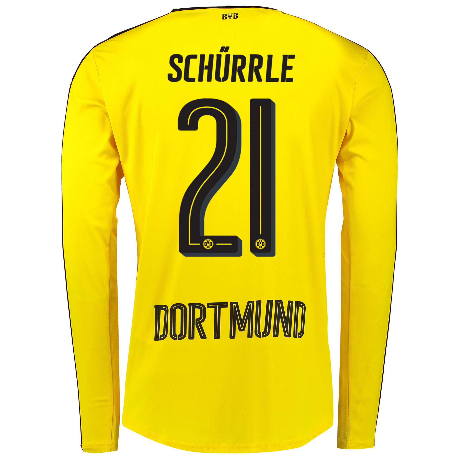 Image of BVB Home Shirt 2016-17 - Long Sleeve with Schürrle 21 printing, Yellow/Black