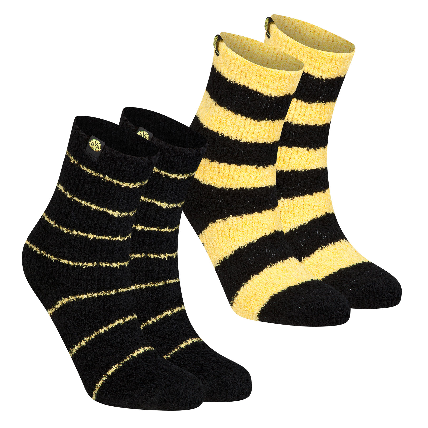 BVB 2 Pack Cuddle Socks - Black/Yellow