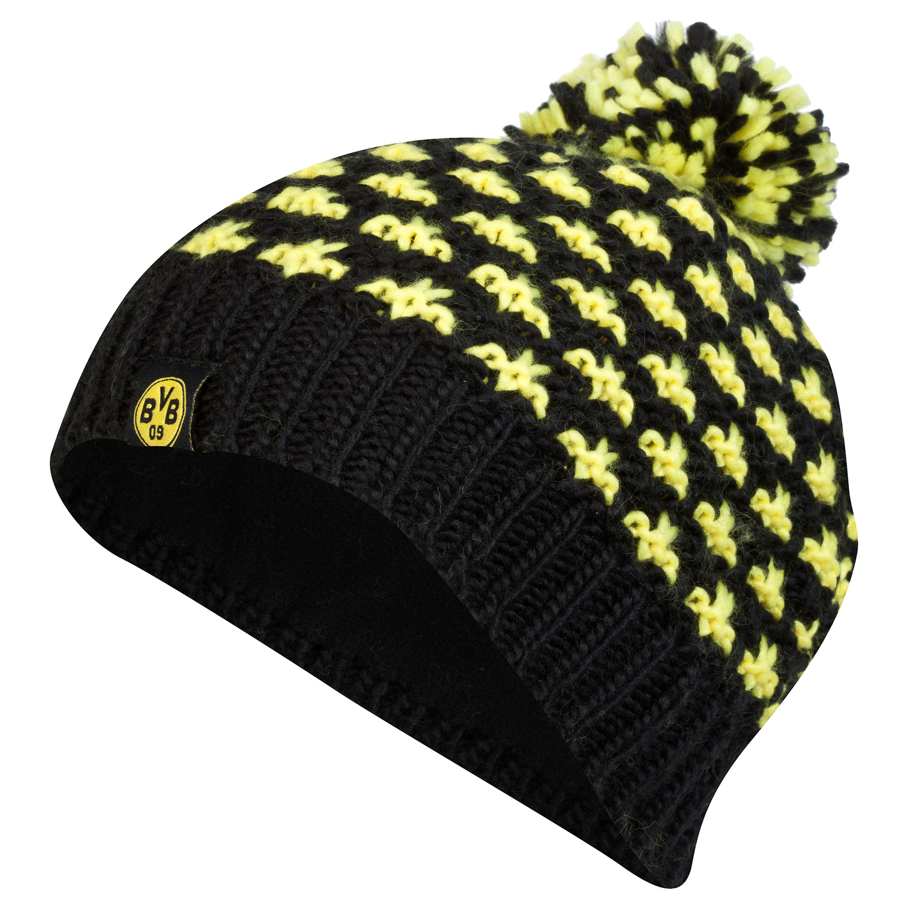 BVB Bobble Beanie Hat - Black/Yellow - Womens