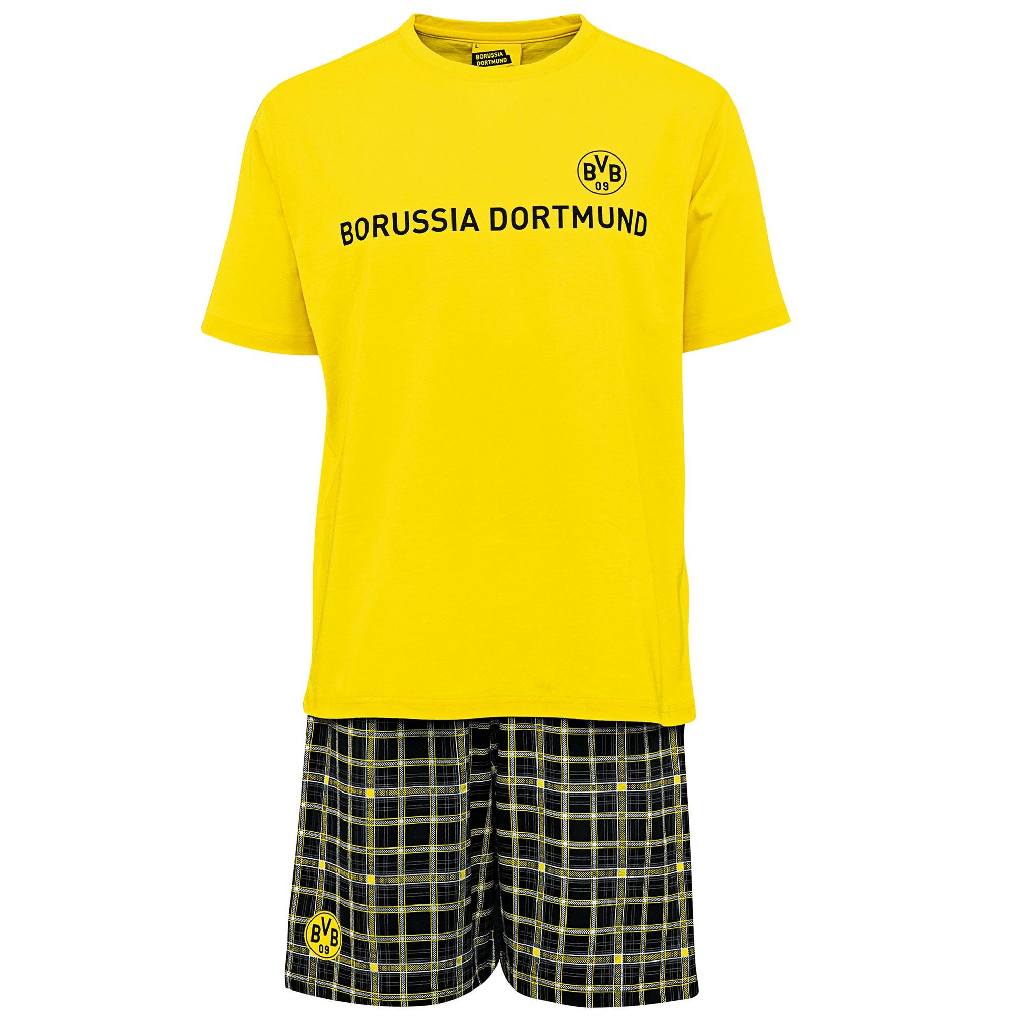 BVB Check Shorts and T-Shirt Pyjamas – Yellow/Black