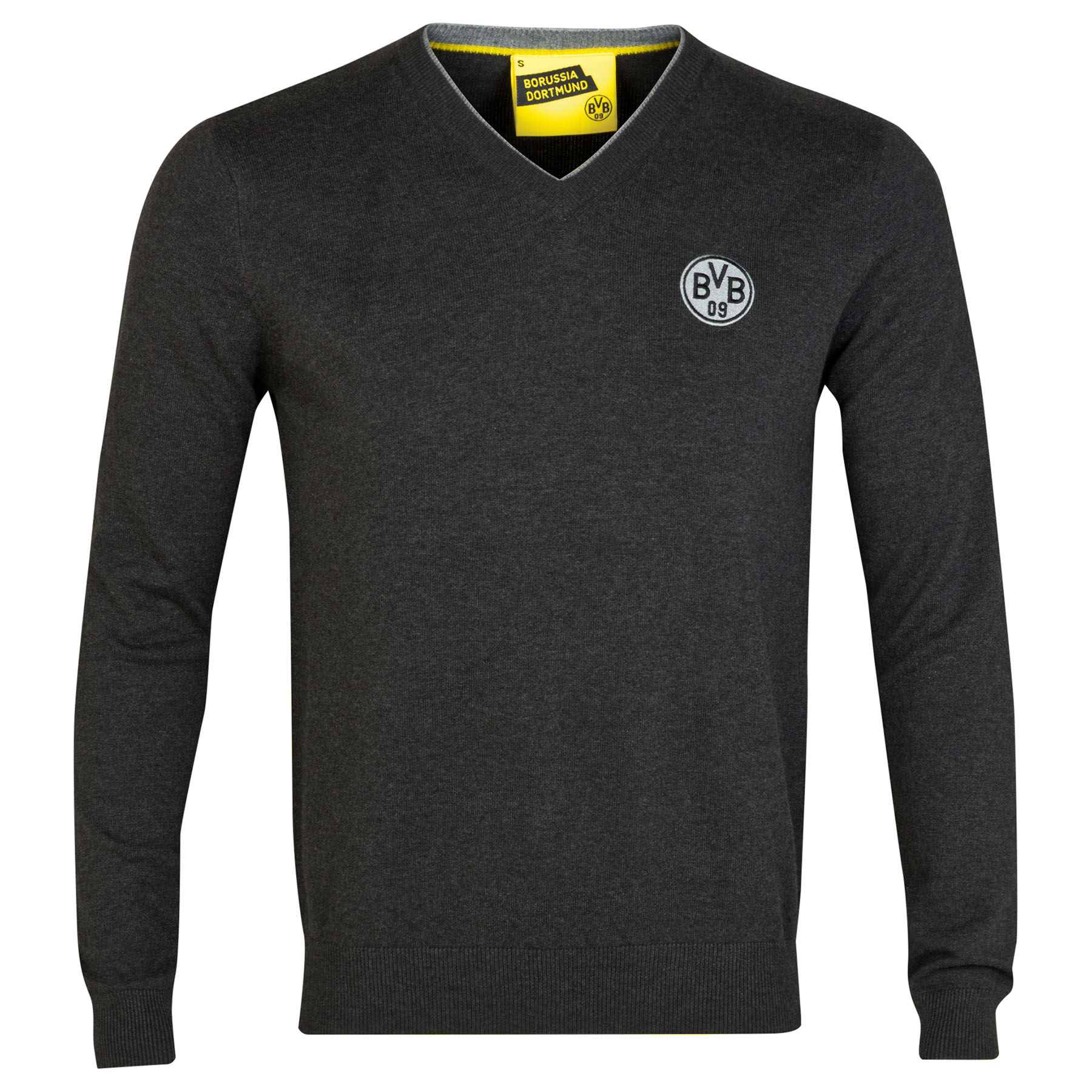 BVB Knitted V Neck Sweater - Charcoal