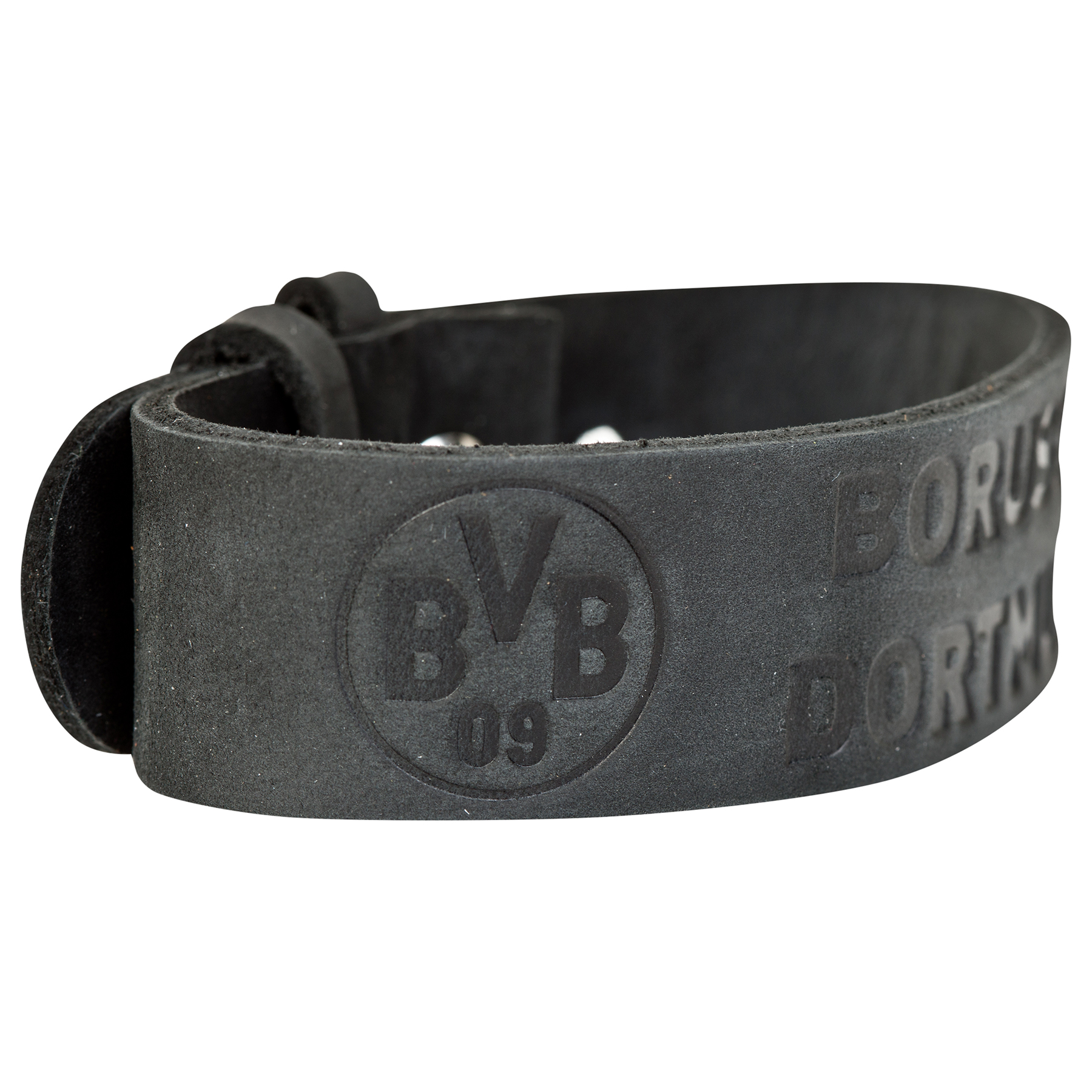 Image of BVB Black Leather Bracelet, Blue