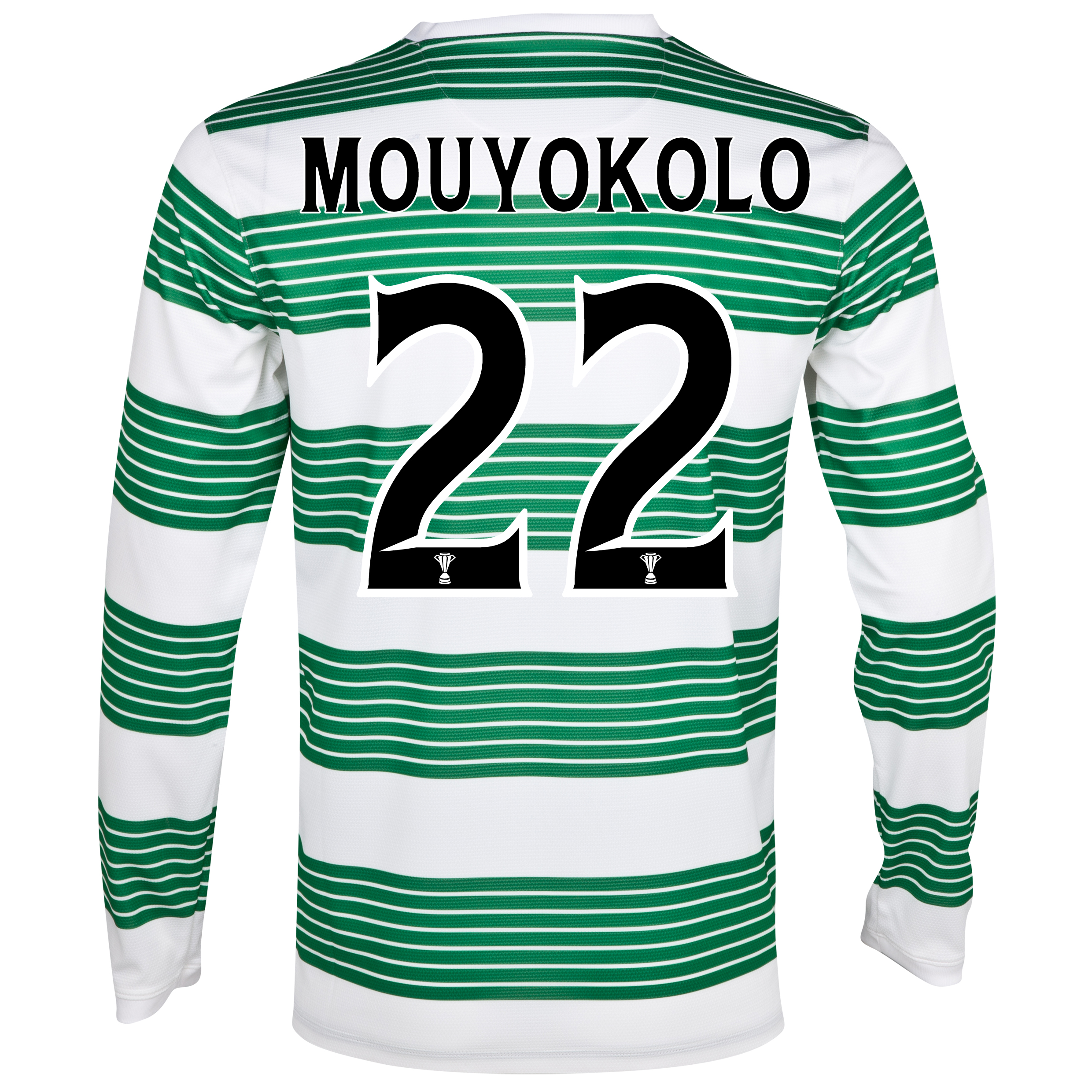 Celtic Home Shirt 2013/15 - L/S- Unsponsored with Mouyokolo 22 printing