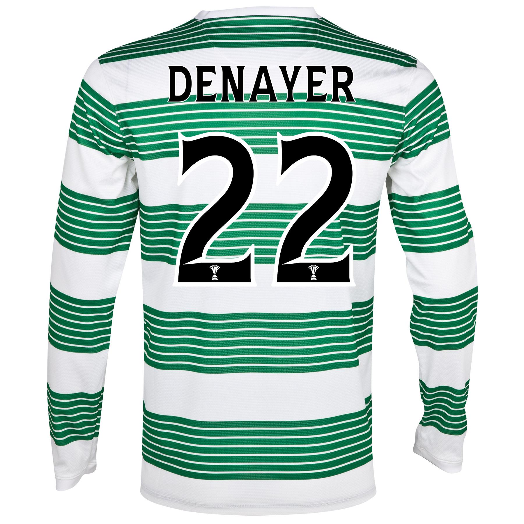 Celtic Home Shirt 2013/15 - L/S- Unsponsored with Denayer 22 printing