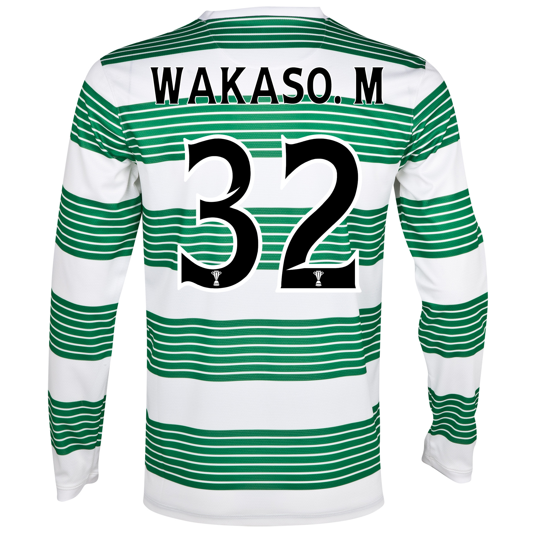 Celtic Home Shirt 2013/15 - L/S- Unsponsored with Wakaso.M 32 printing