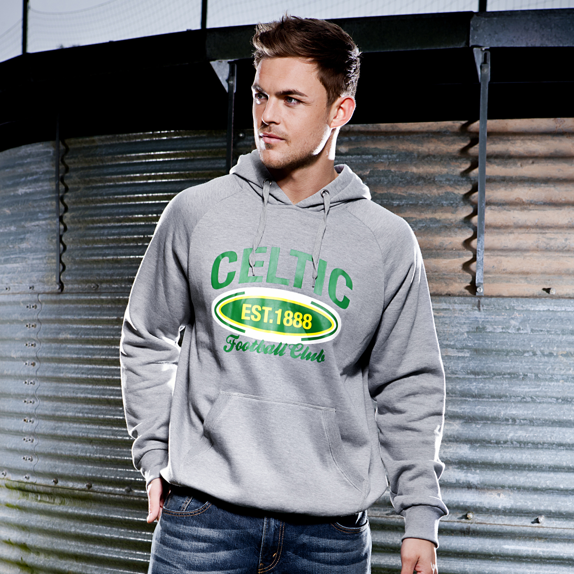 Celtic Essentials 1888 Graphic Hoody - Grey Marl - Mens