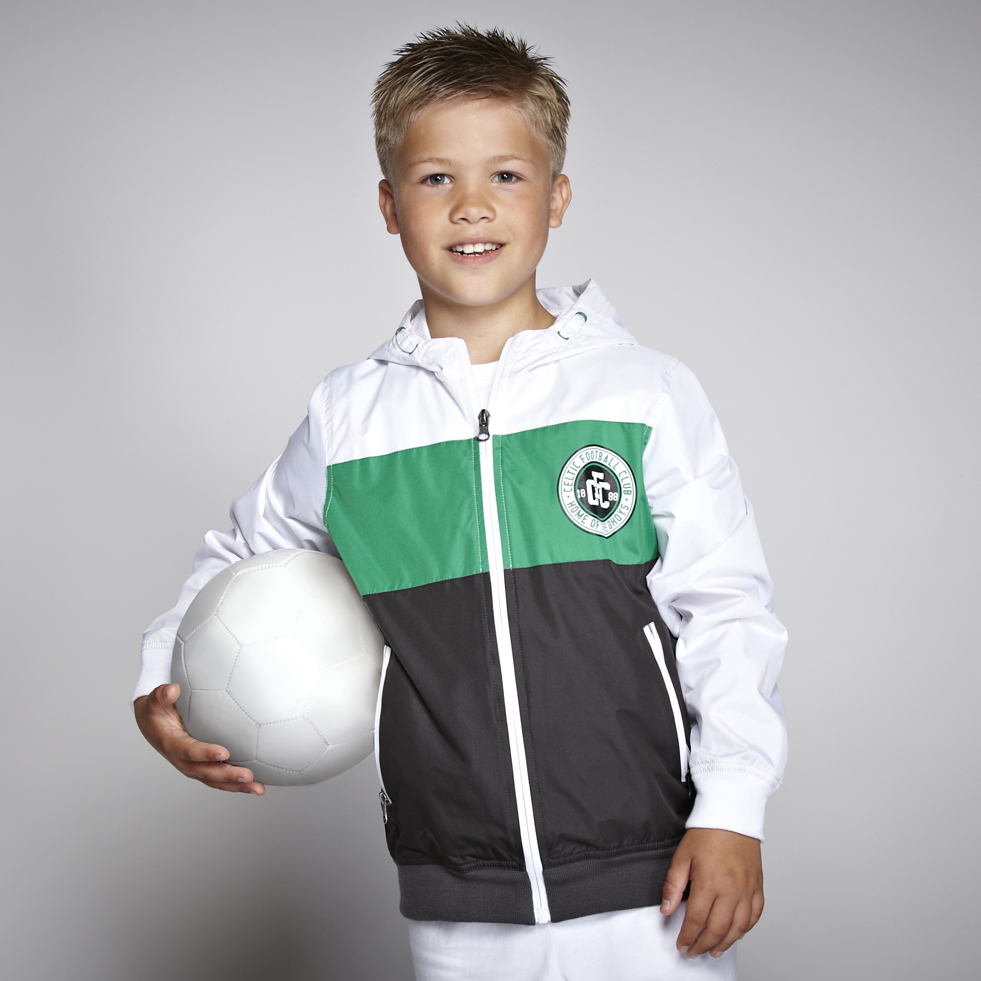 Celtic Paneled Shower Jacket - White - Boys