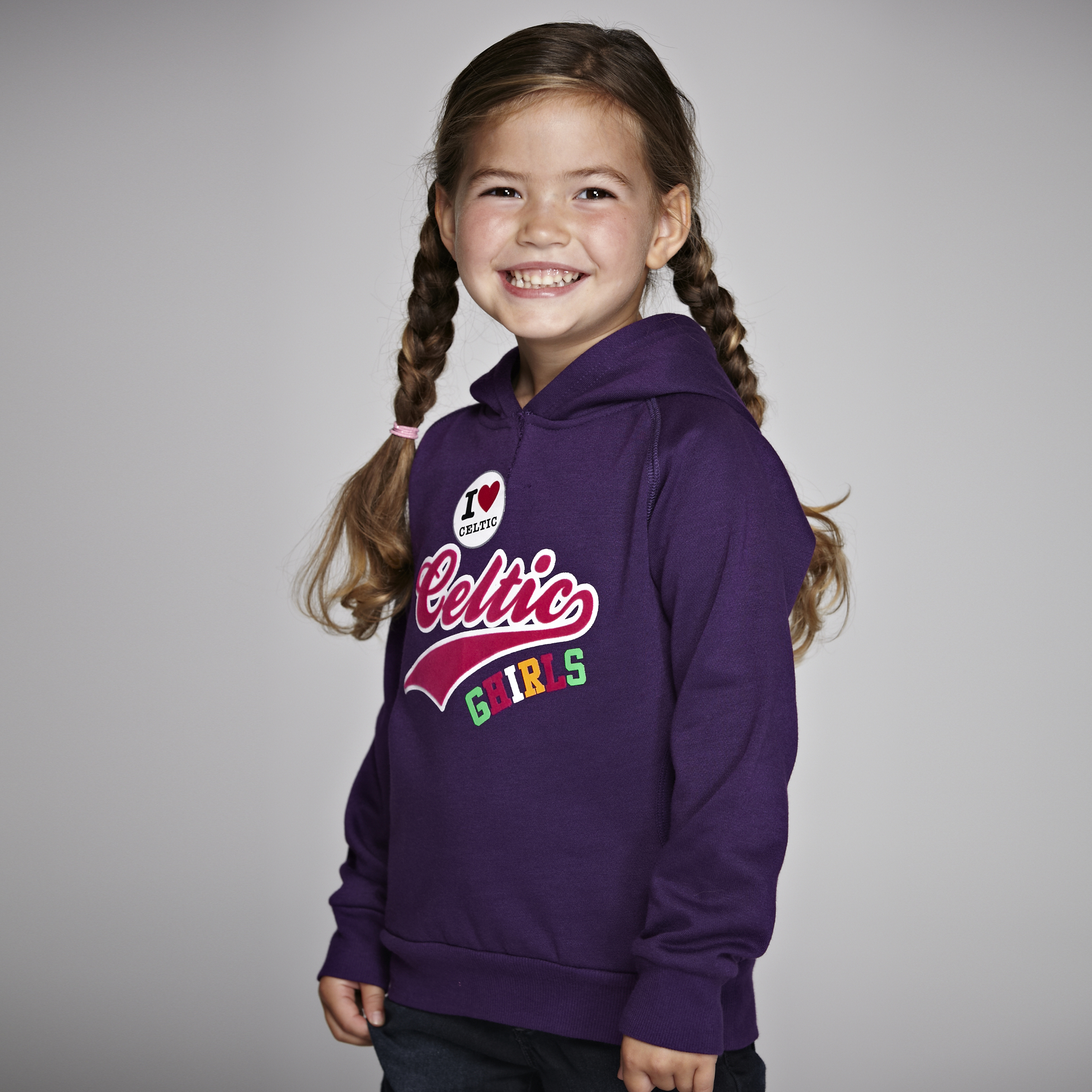 Celtic Badges Longline Hoody - Grape - Girls