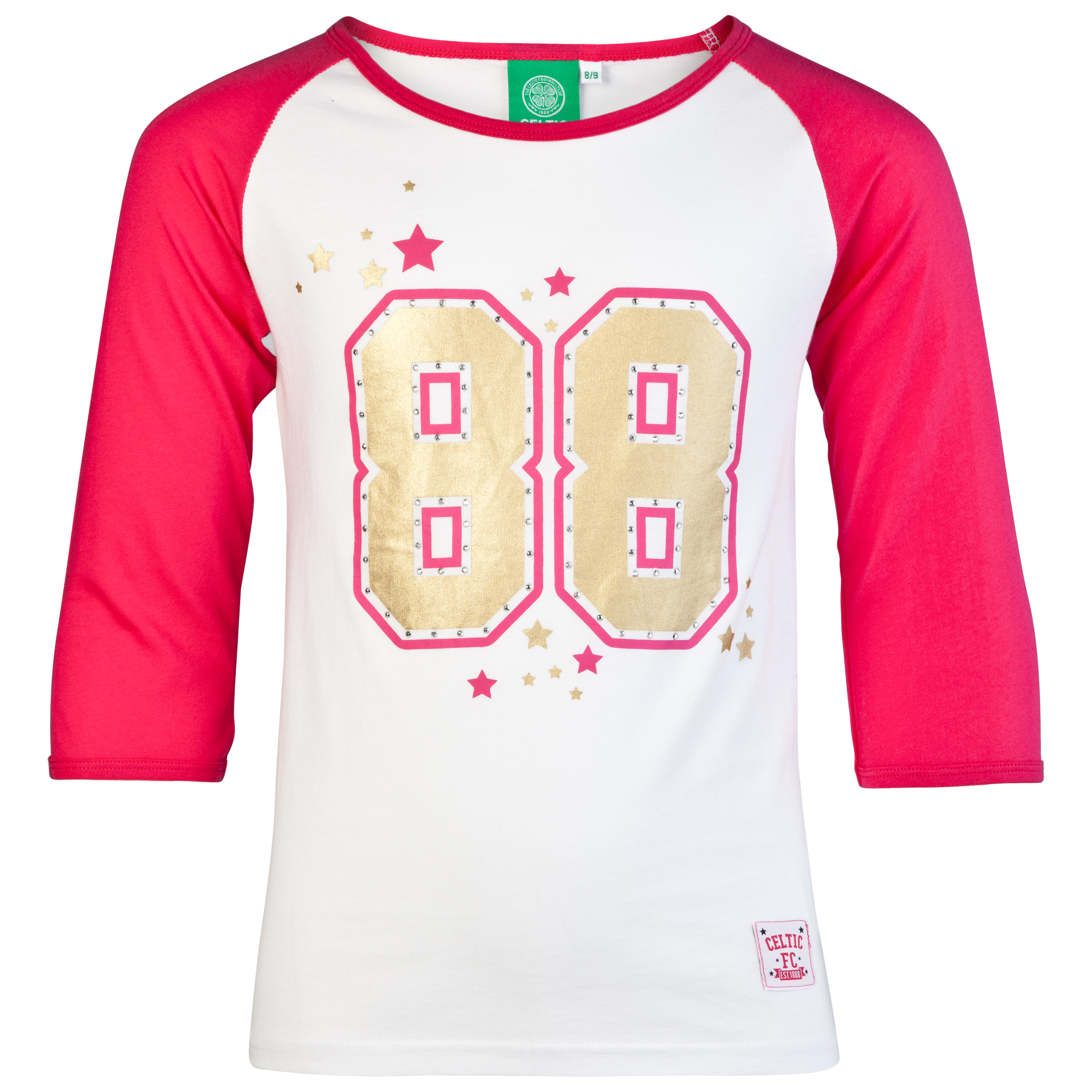 Celtic 88 Raglan 3/4 Sleeve Graphic T-Shirt - White - Girls