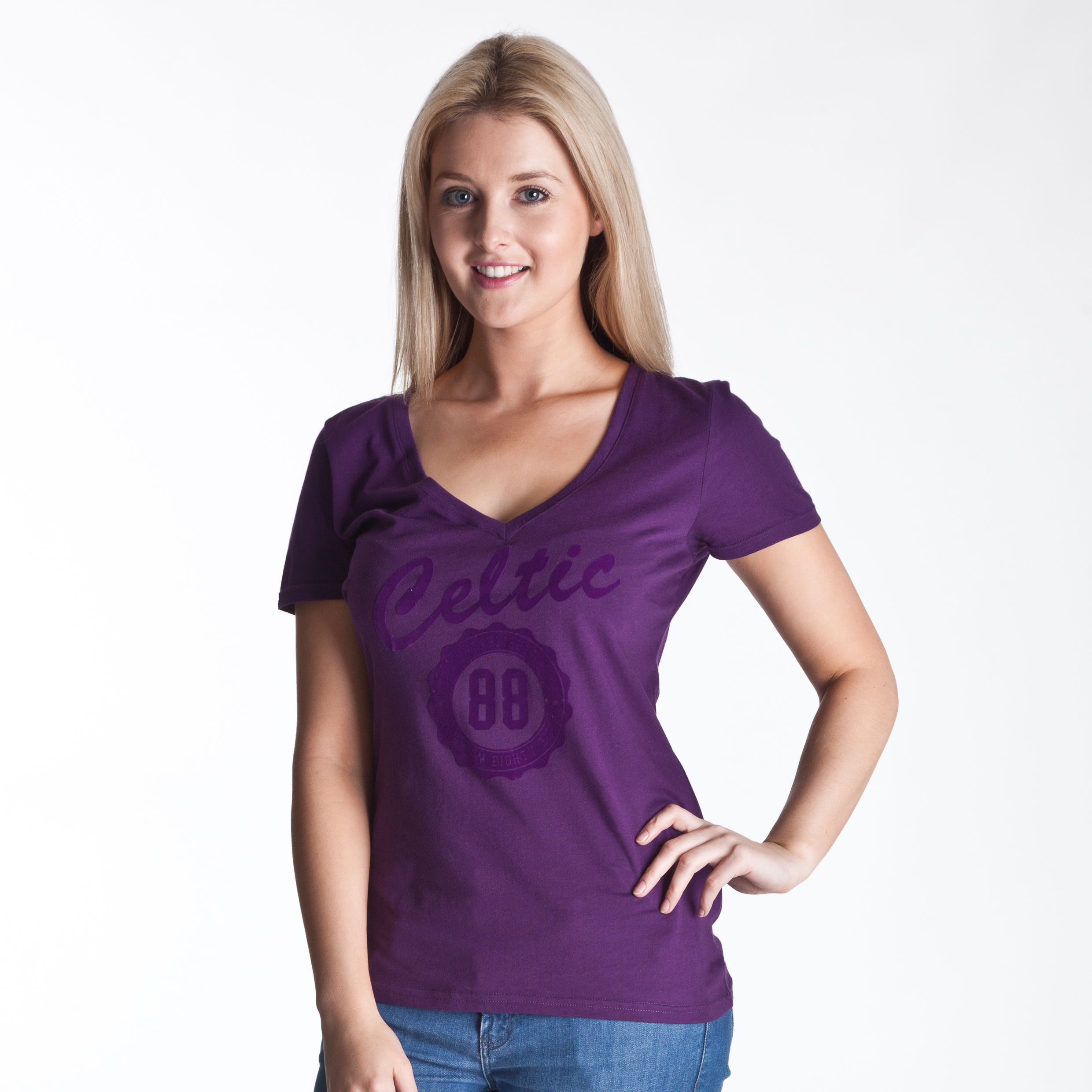 Celtic Deep V Neck Graphic T-Shirt - Grape - Womens