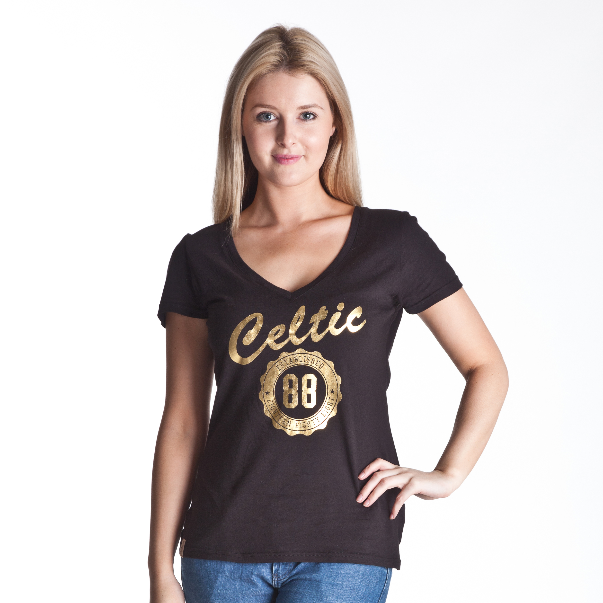 Celtic Deep V Neck Graphic T-Shirt - Black - Womens