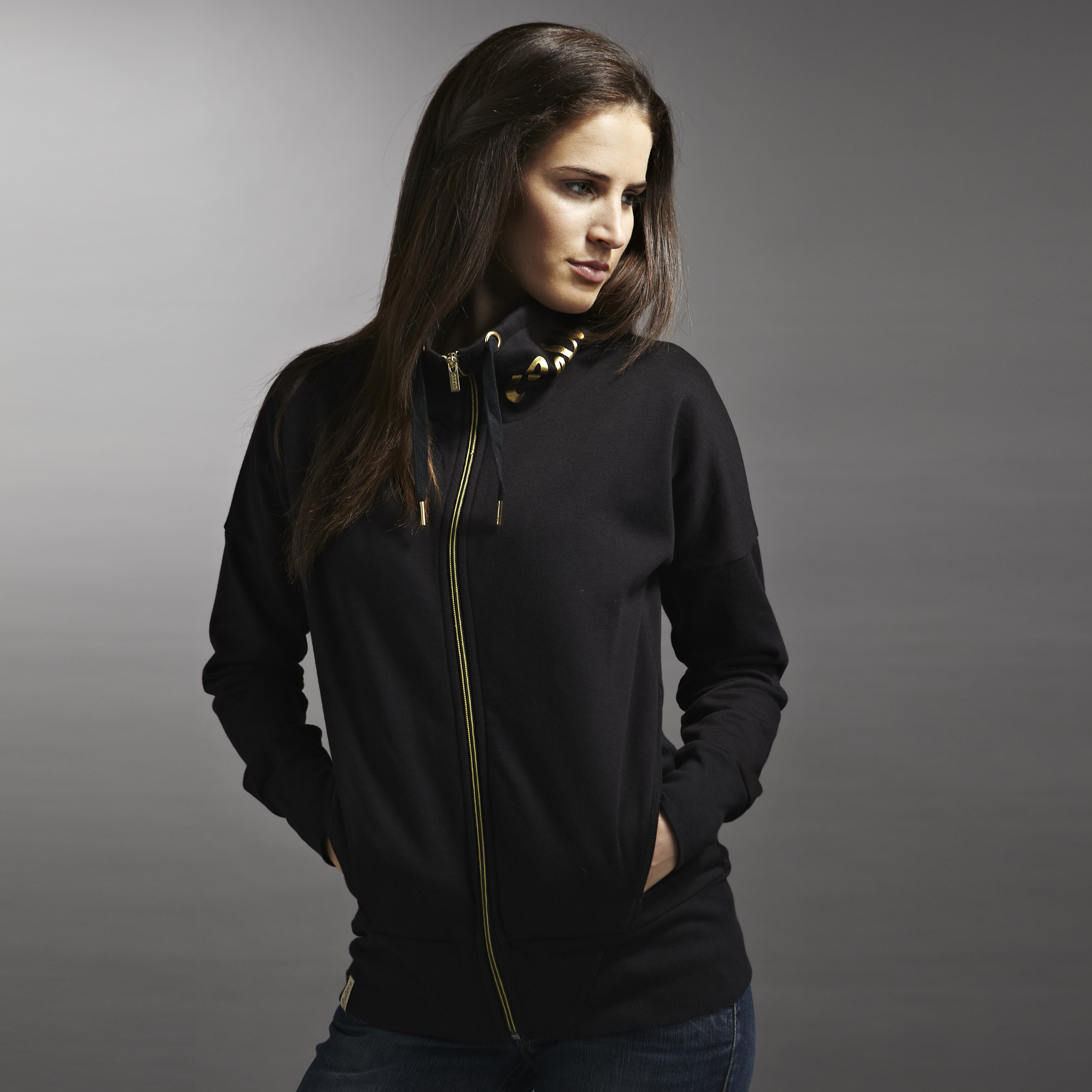 Celtic Funnel Neck Zip Thru Sweatshirt - Black - Womens
