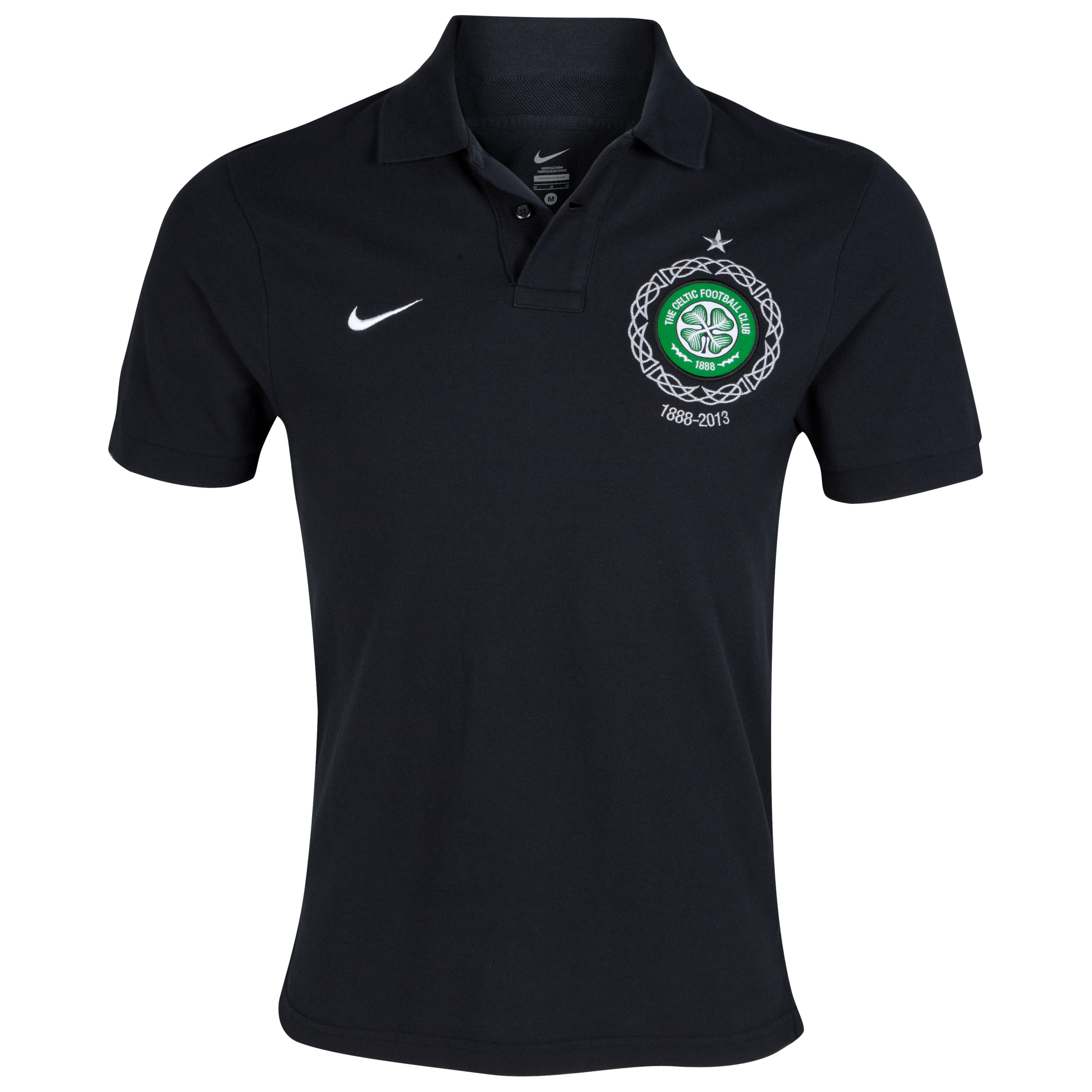 Celtic Authentic Short Sleeve Grand Slam Polo - Black/Victory Green/White/White