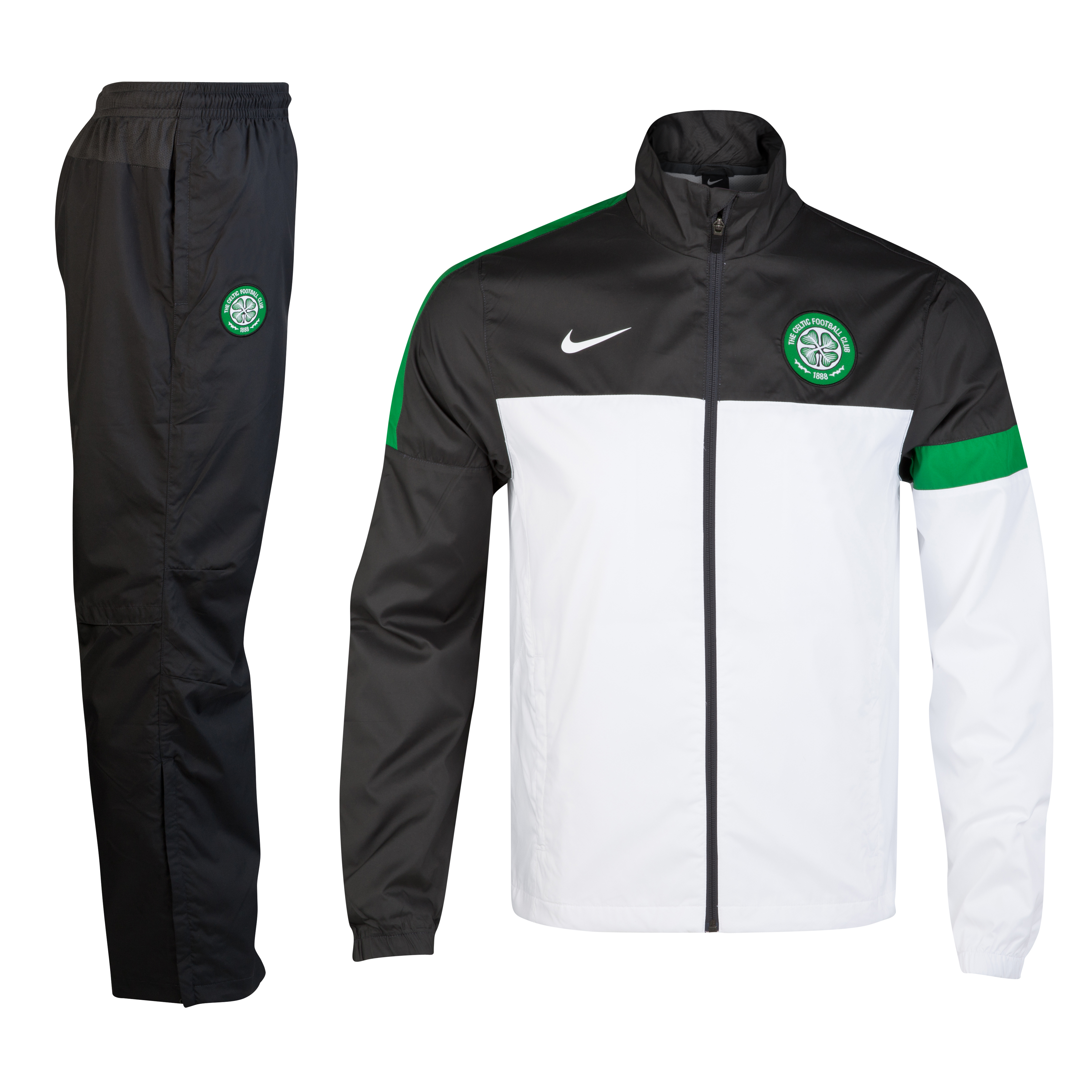 Celtic Sideline Woven Warm Up Tracksuit - White/Anthracite/Victory Green/White - Youths