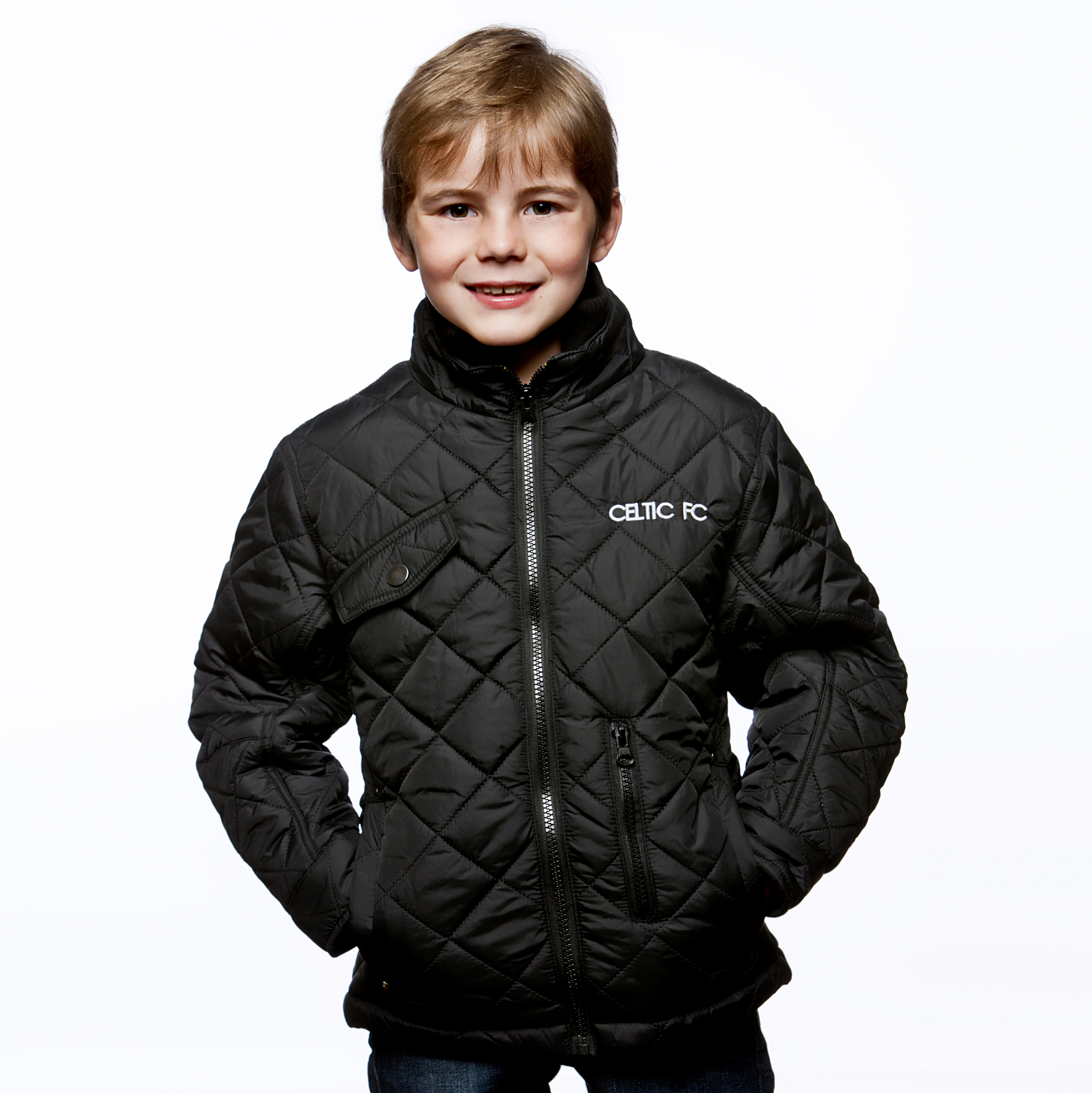 Celtic Quilted Jacket - Black - Boys