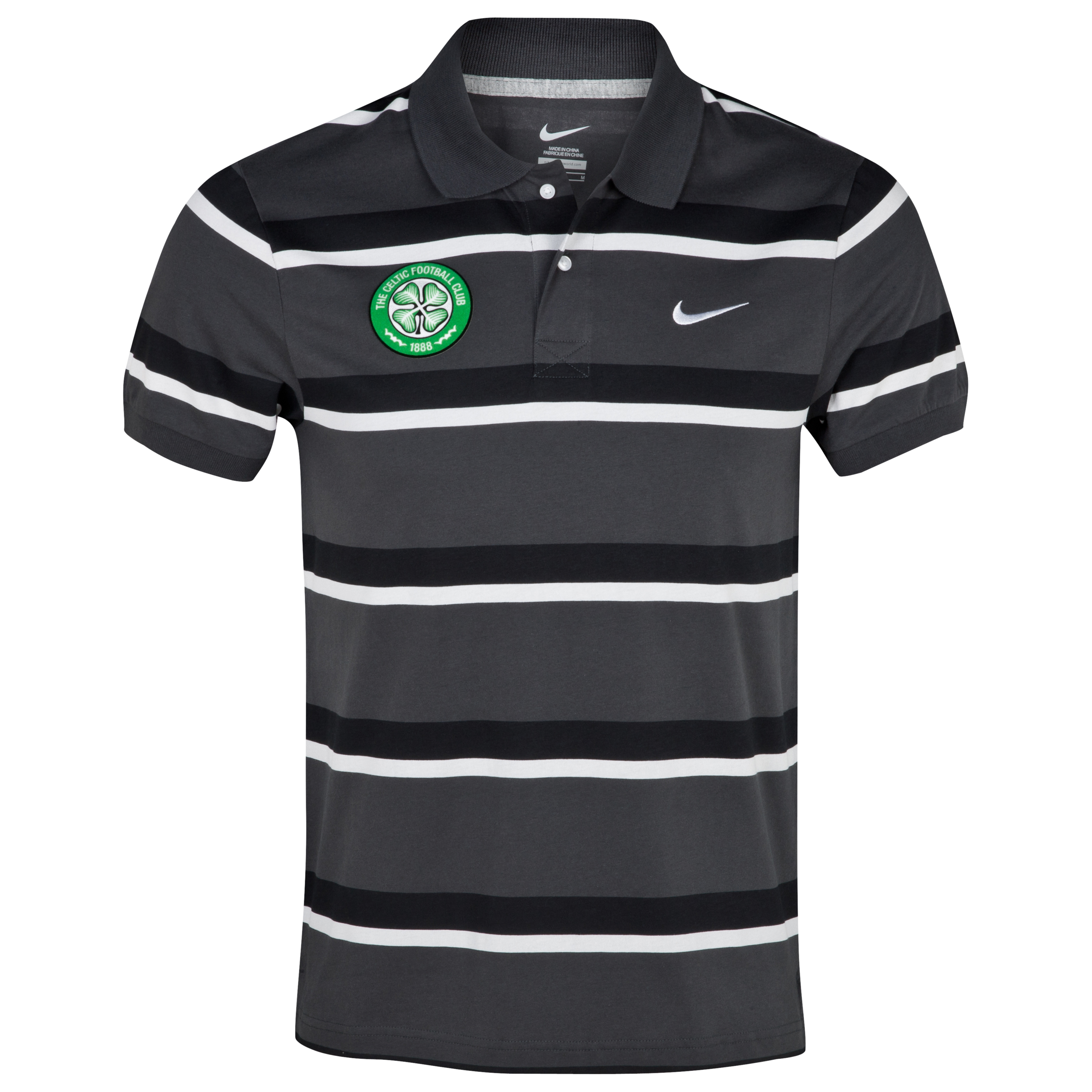 Celtic Classic Striped Jersey Polo - Anthracite/Black/White
