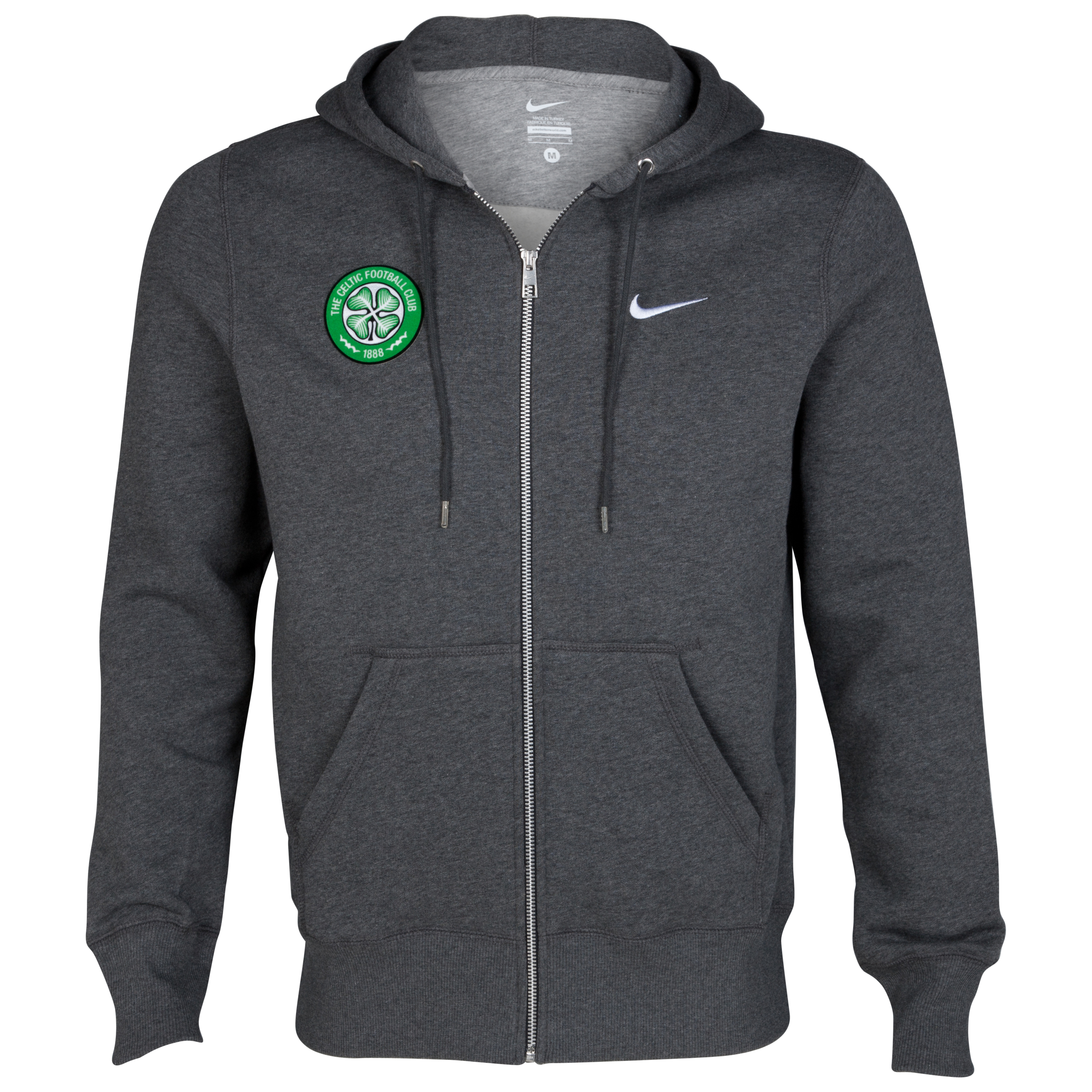 Celtic Classic Fleece Full Zip Hoodie - Charcoal Heather/Dark Grey Heather/White
