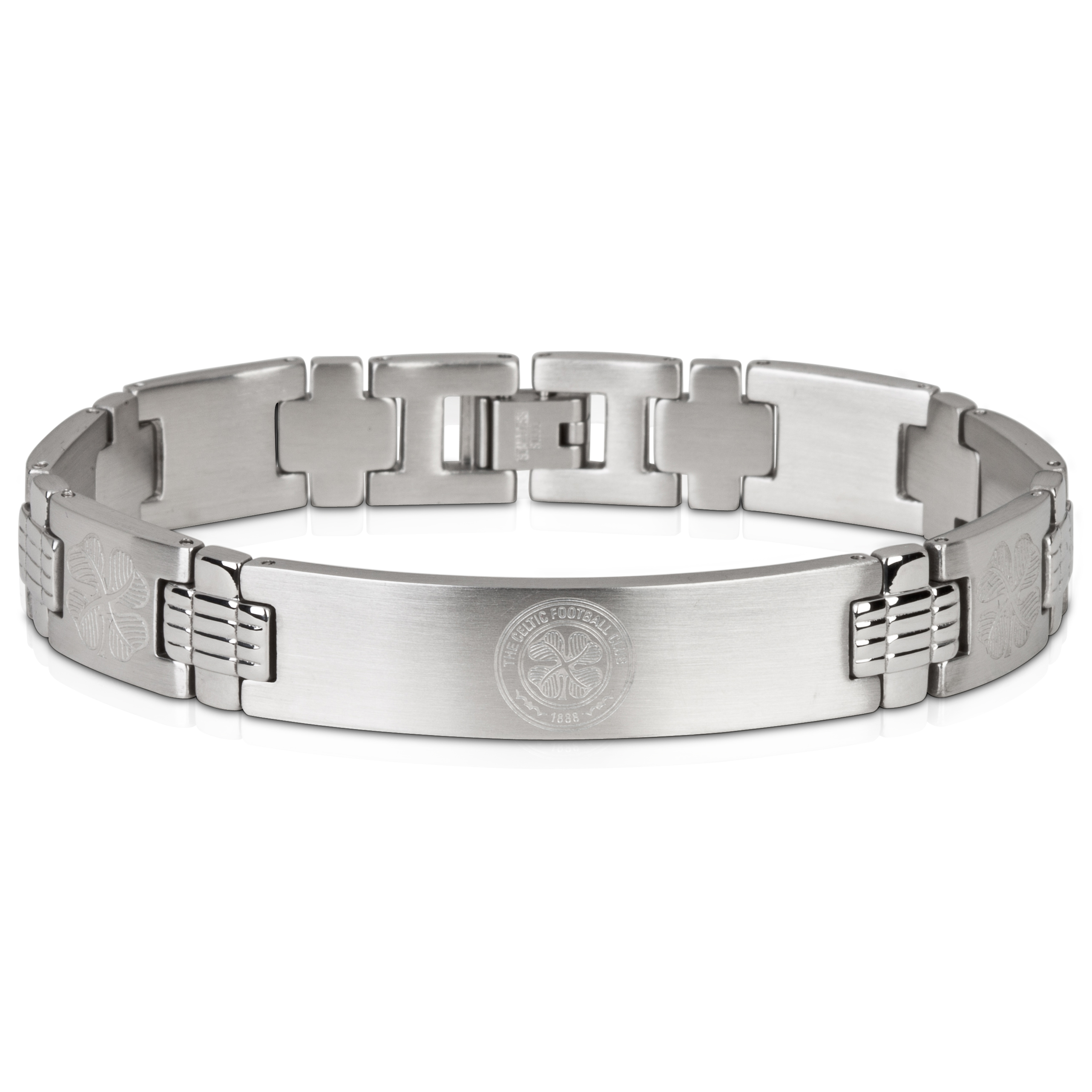 Celtic Crest with Multi 4 Leaf Clover Bracelet - Stainless Steel