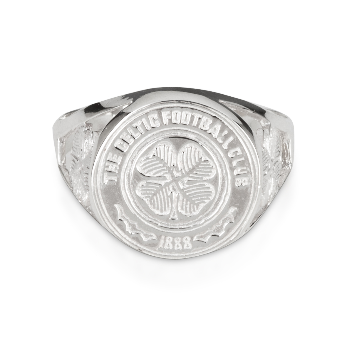Celtic Large Crest Ring with 4 Leaf Clover - Sterling Silver