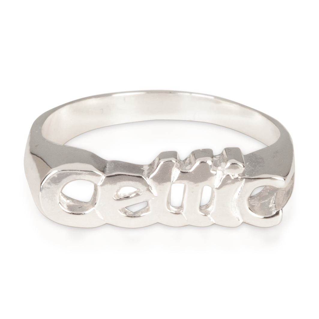 Celtic Small Name Ring - Sterling Silver